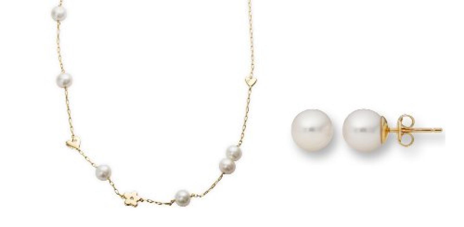 Miore Damen-Set: Halskette + Ohrringe Süßwasser-Zuchtperlen und Diamant 18 Karat (750) Gelbgold MSET004