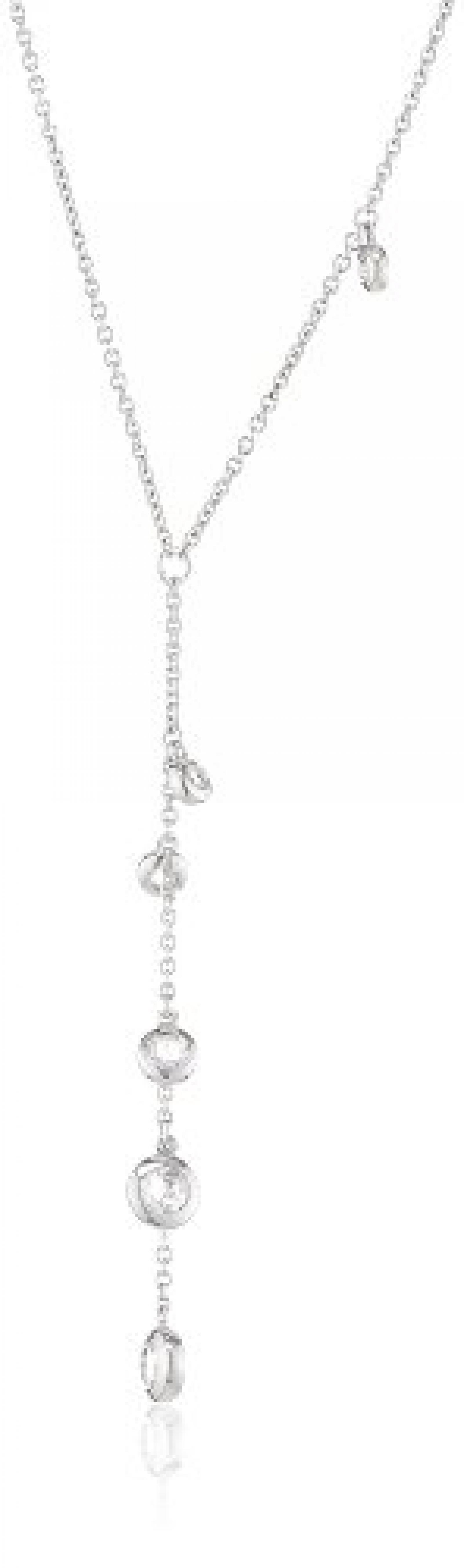 Pierre Cardin Damen Halskette 925 Sterling Silber rhodiniert Kristall Zirkonia Poussières détoiles 42 cm weiß PCNL90409A420