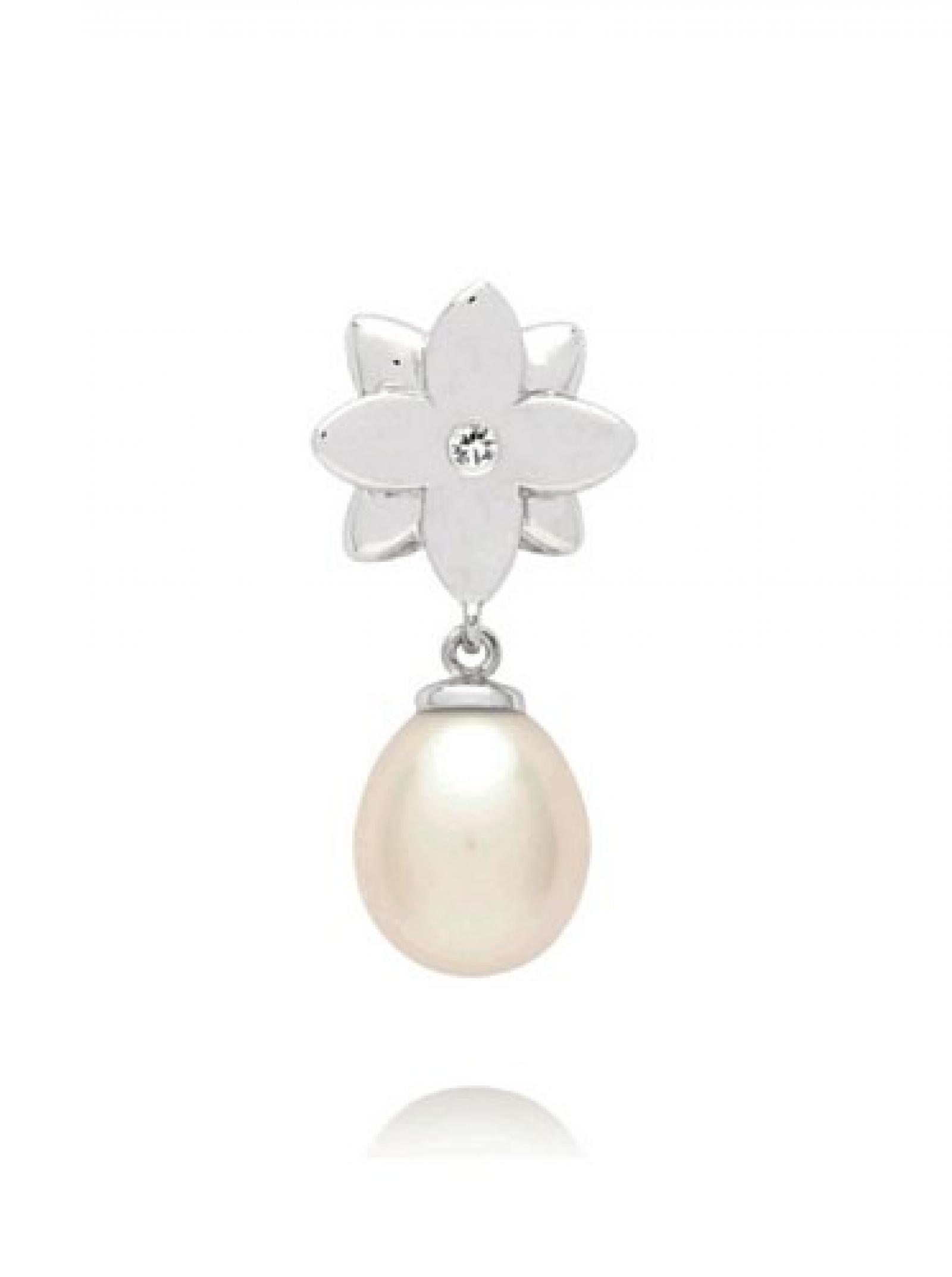 Valero Pearls Diamond Collection Damen-Anhänger (ohne Kette) Hochwertige Süßwasser-Zuchtperlen in ca.  8 mm Tropfenform weiß 925 Sterling Silber   Diamant    60020014