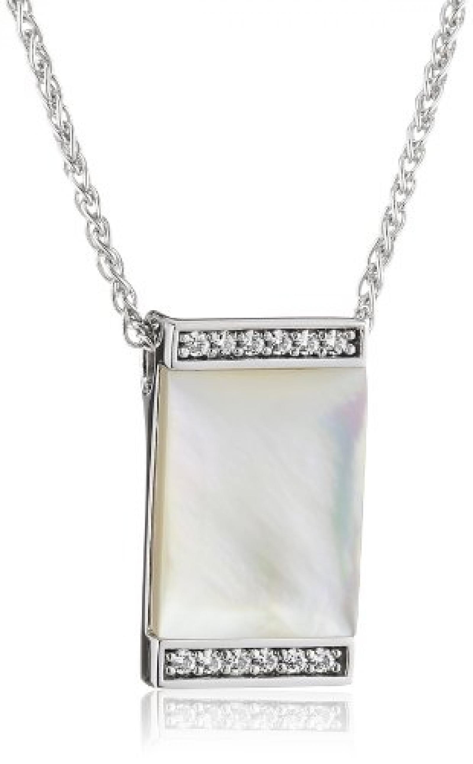 Pierre Cardin Damen Halskette 925 Sterling Silber rhodiniert Kristall Zirkonia Crépuscule 42 cm weiß PCNL90381B420