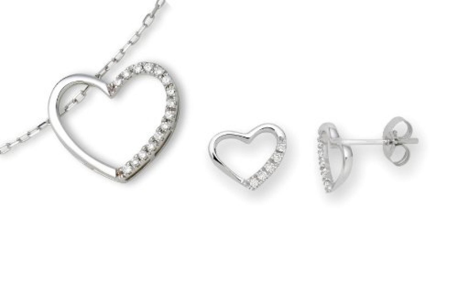 Miore Damen-Set: Halskette + Ohrringe Herz Diamant Sterling Silber 925 MSET005