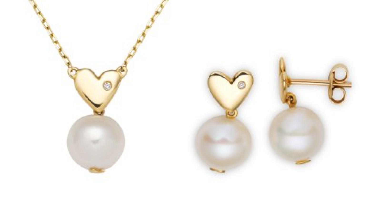 Miore Damen-Set: Halskette + Ohrringe Süßwasser-Zuchtperlen und Diamant 18 Karat (750) Gelbgold MSET002