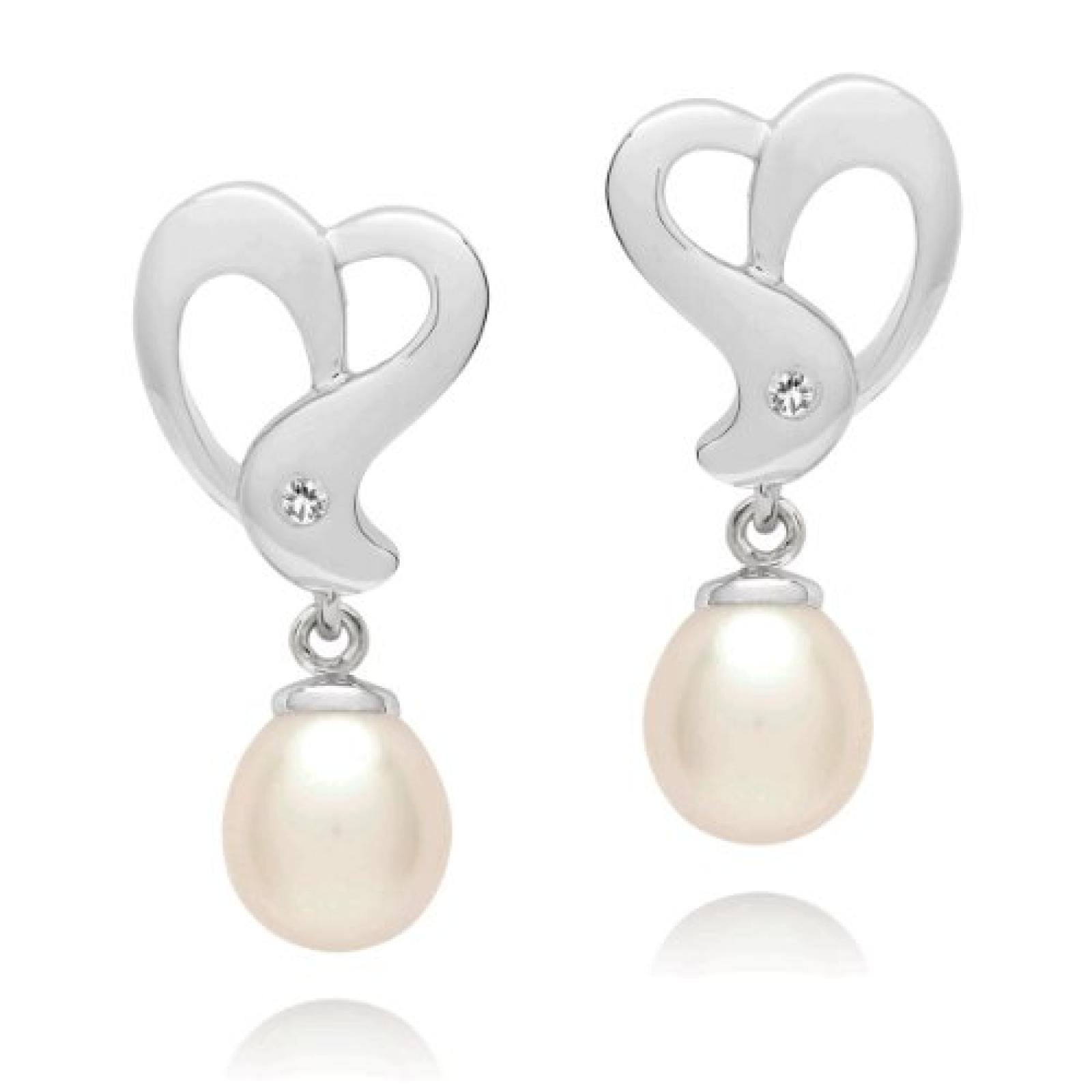 Valero Pearls Diamond Collection Damen-Ohrstecker Hochwertige Süßwasser-Zuchtperlen in ca.  6 mm Tropfenform weiß 925 Sterling Silber   Diamant    60020011