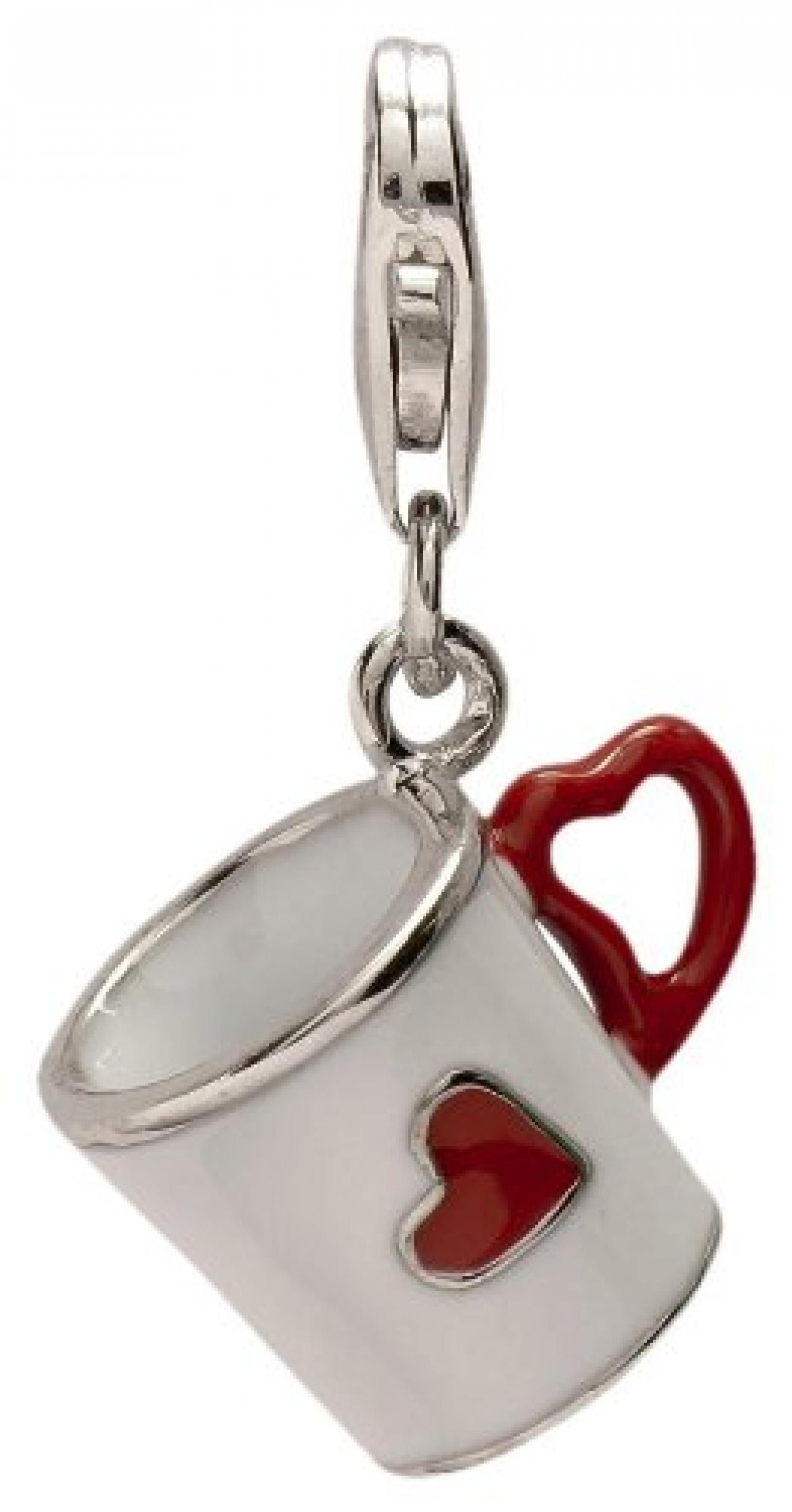 Rafaela Donata Charm Collection Damen-Charm Kaffeetasse 925 Sterling Silber Emaille weiß / rot  60602074