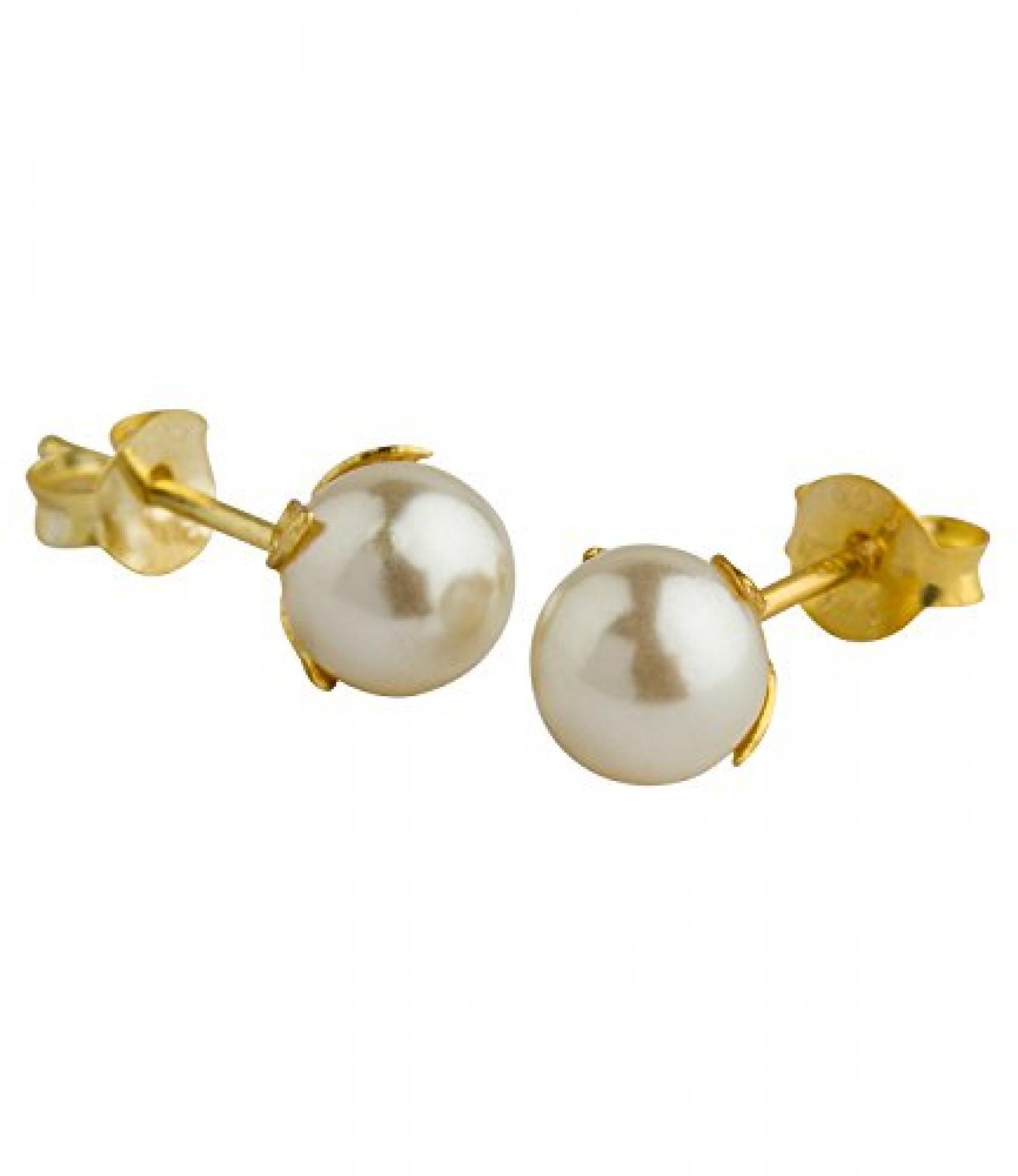 SIX Perlen Ohrstecker, Einfassung aus goldenem 925er Silber, Blätter (293-387)