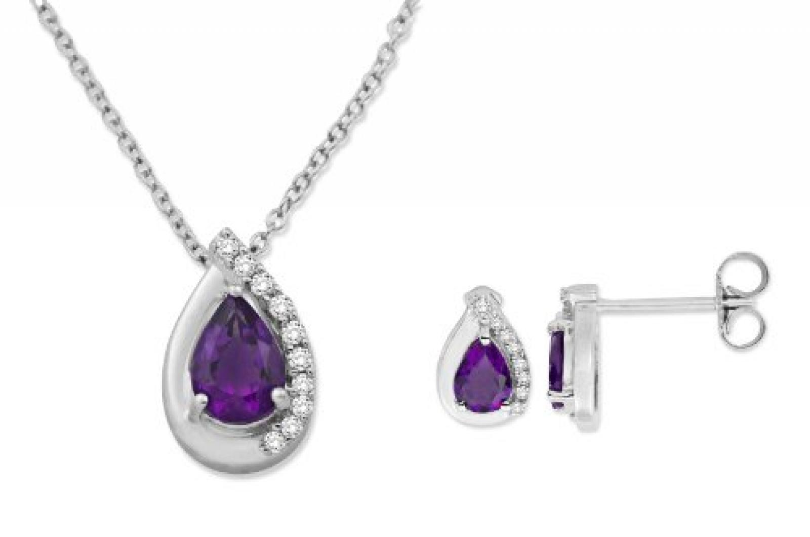 MIORE Damen-SchmuckSet Ohrringe und Anhänger 9 Karat (375) Weißgold Tropfen Amethyst und Diamant USP028W