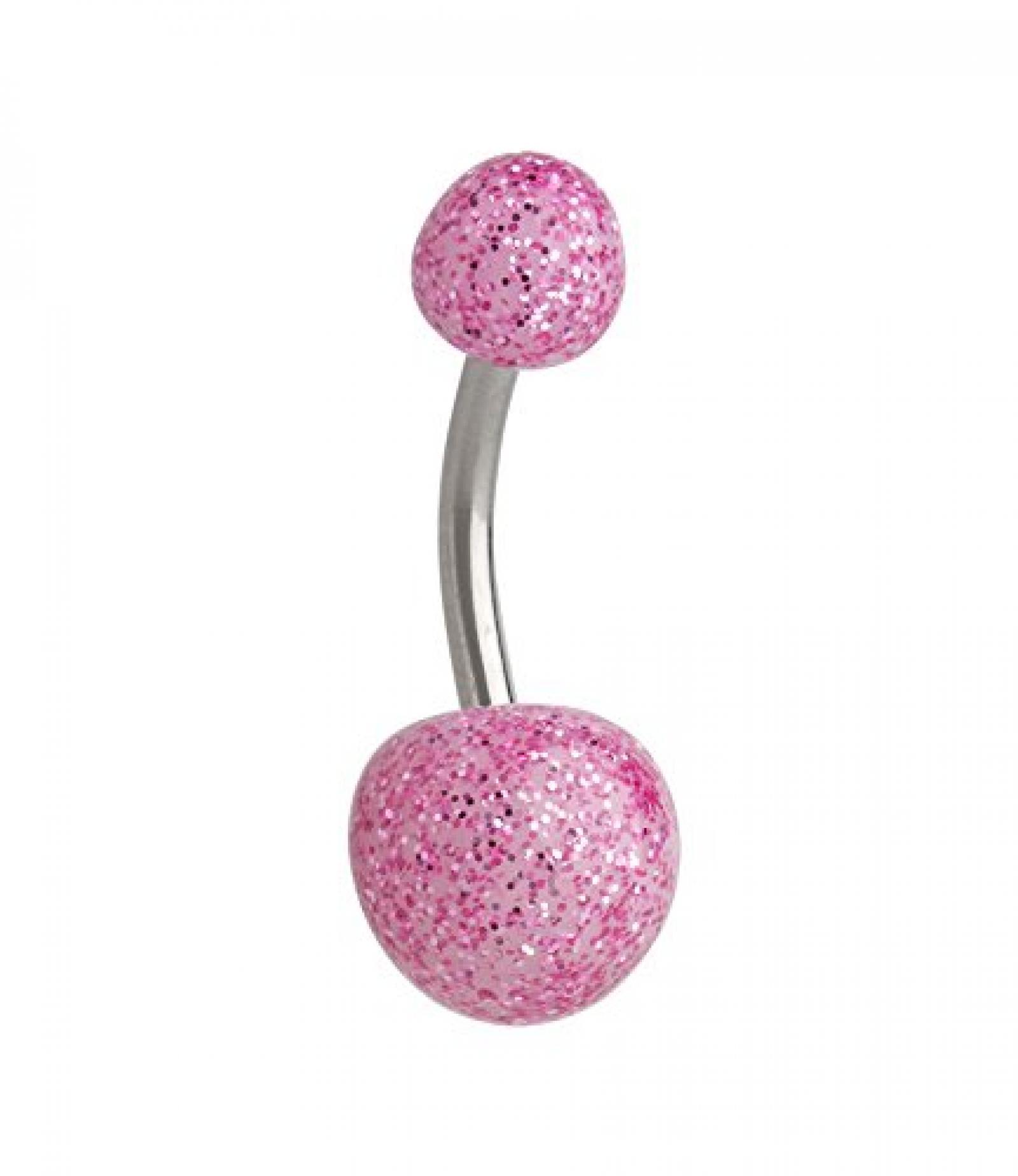 SIX Bauchnabel Piercing aus Chirurgenstahl mit rosa Glitzer Kugeln (269-407)
