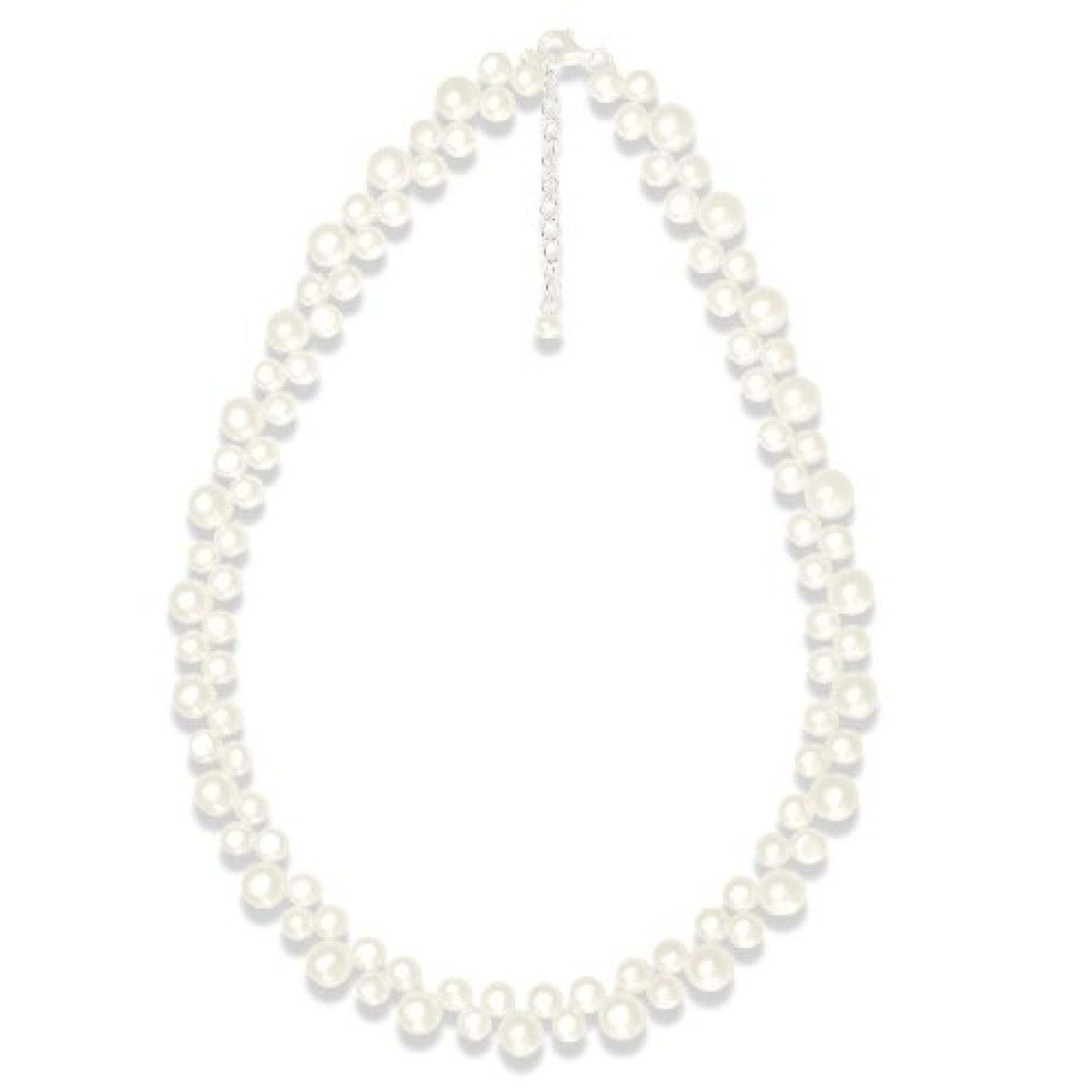 Valero Pearls Classic Collection Damen-Kette Hochwertige Süßwasser-Zuchtperlen in ca.  6-8 mm Button weiß 925 Sterling Silber    42 cm + 5 cm Verlängerung   145150
