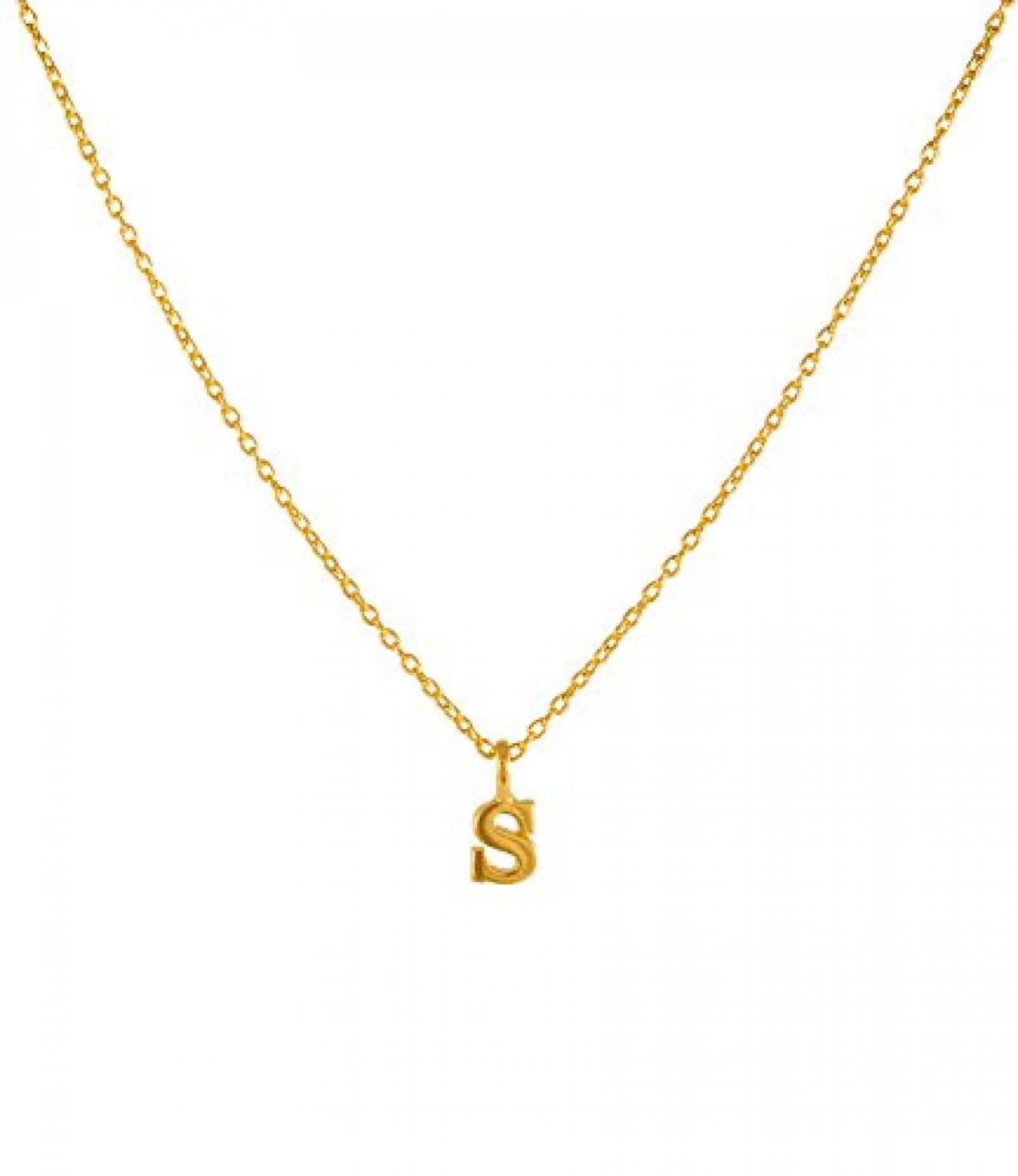 """SIX feine gold beschichtete Kette aus 925er Silber mit """"S""""-Anhänger (22-938)"""