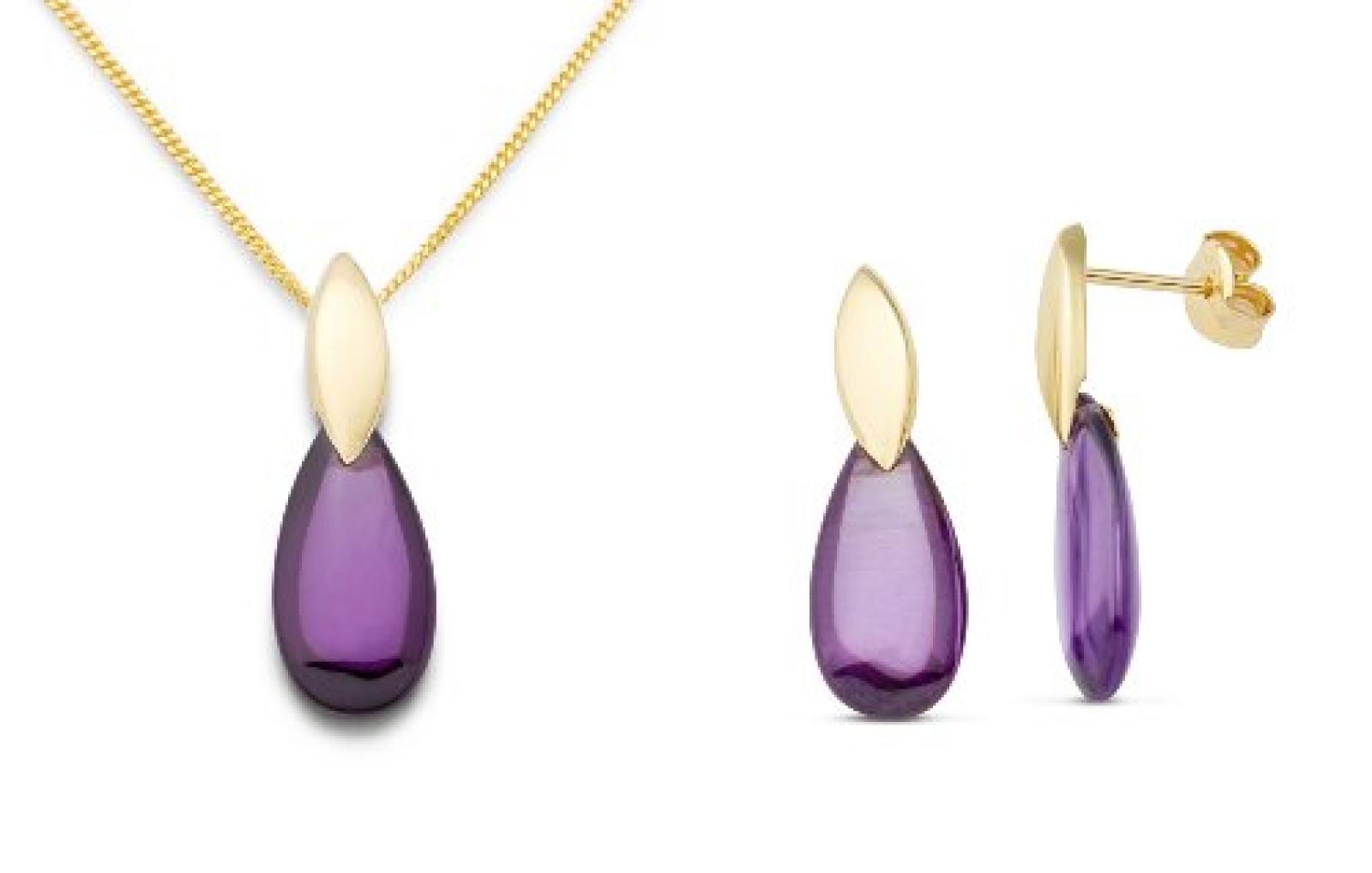 Miore Damen-Schmuck-Set: Halskette + Ohrringe Zirkonia Amethyst Tropfen 375 Gelbgold MSET010
