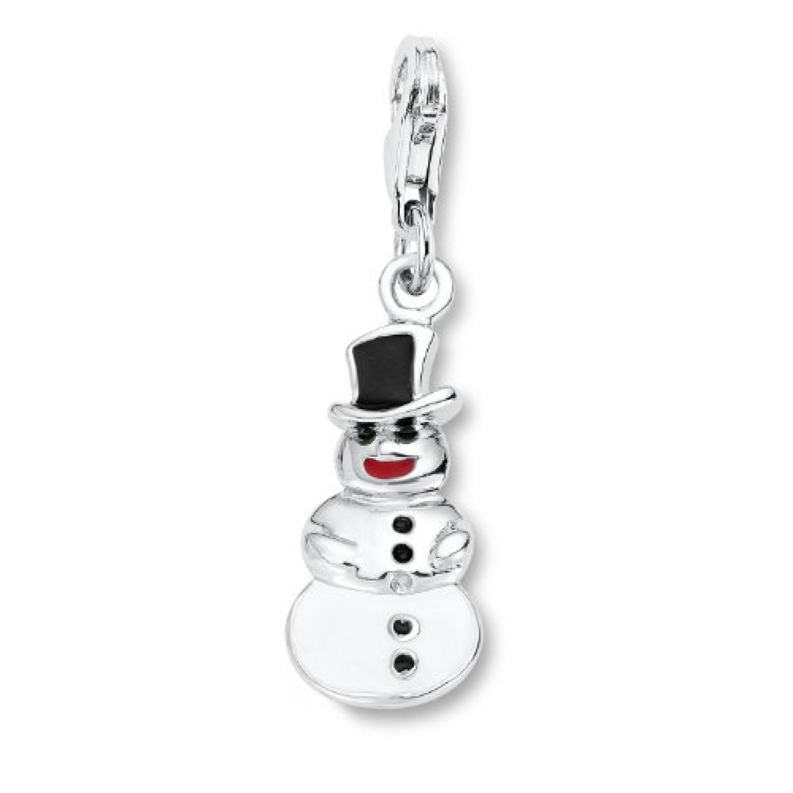 Amor Jewelry Damen-Charm Schneemann 925 Sterling Silber 430197