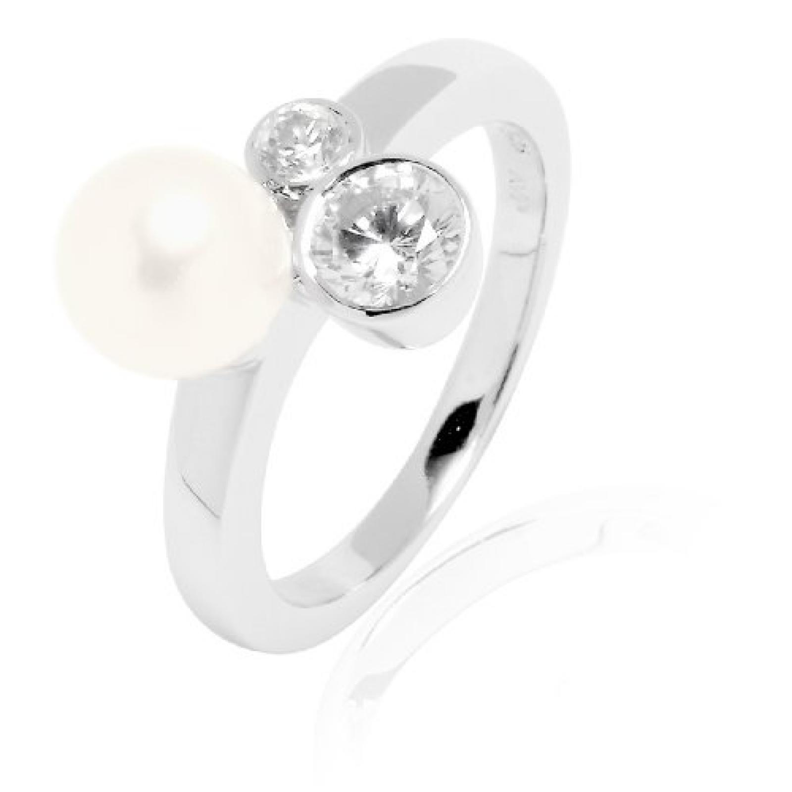 Valero Pearls Damen-Ring Silver Collection 925 Sterling Silber Süßwasser-Zuchtperlen weiß 60200012