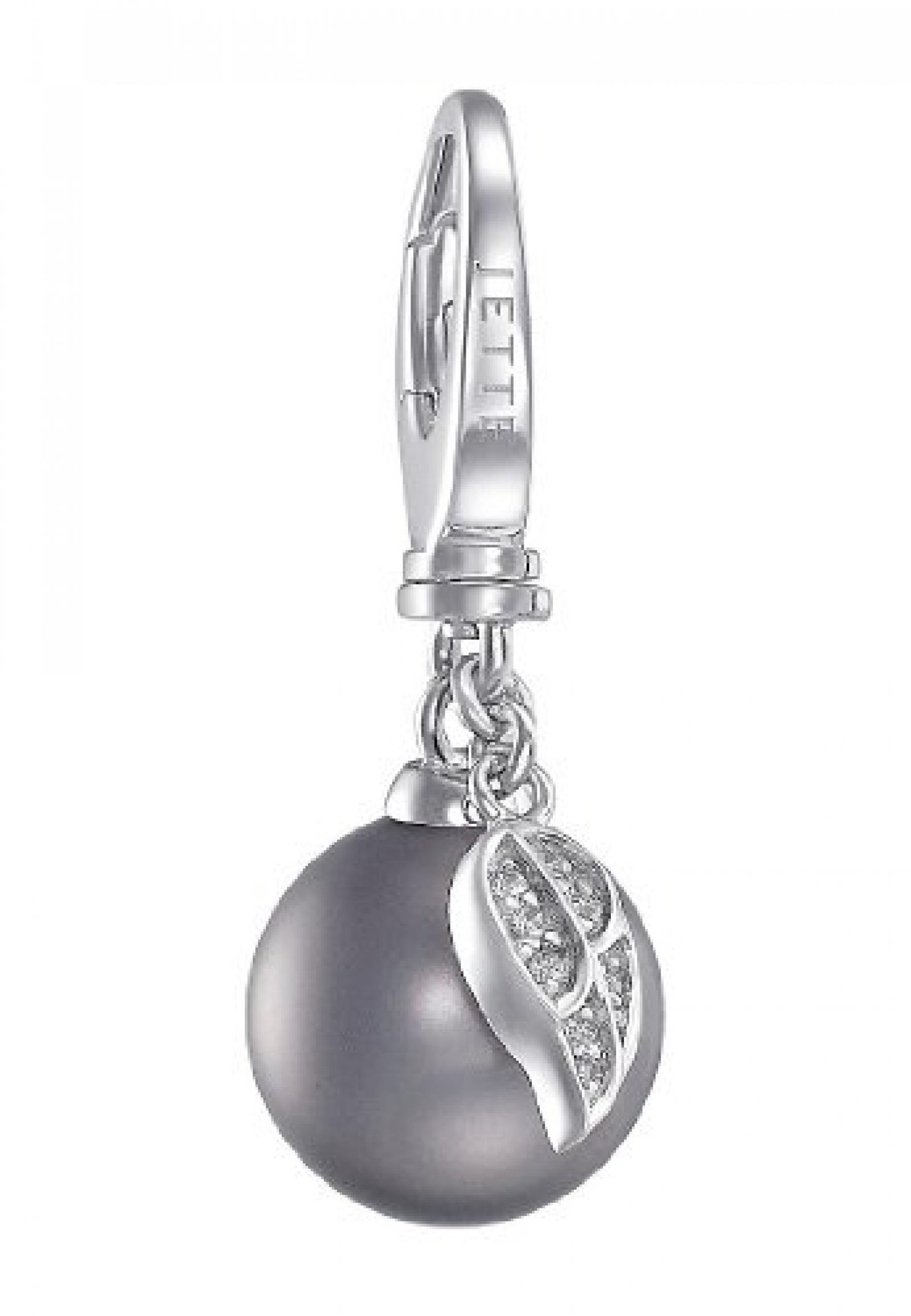 JETTE Charms Damen-Charm Perle Mit Flügel 925er Silber 1 Muschelkernperle 8 Zirkonia One Size, silber