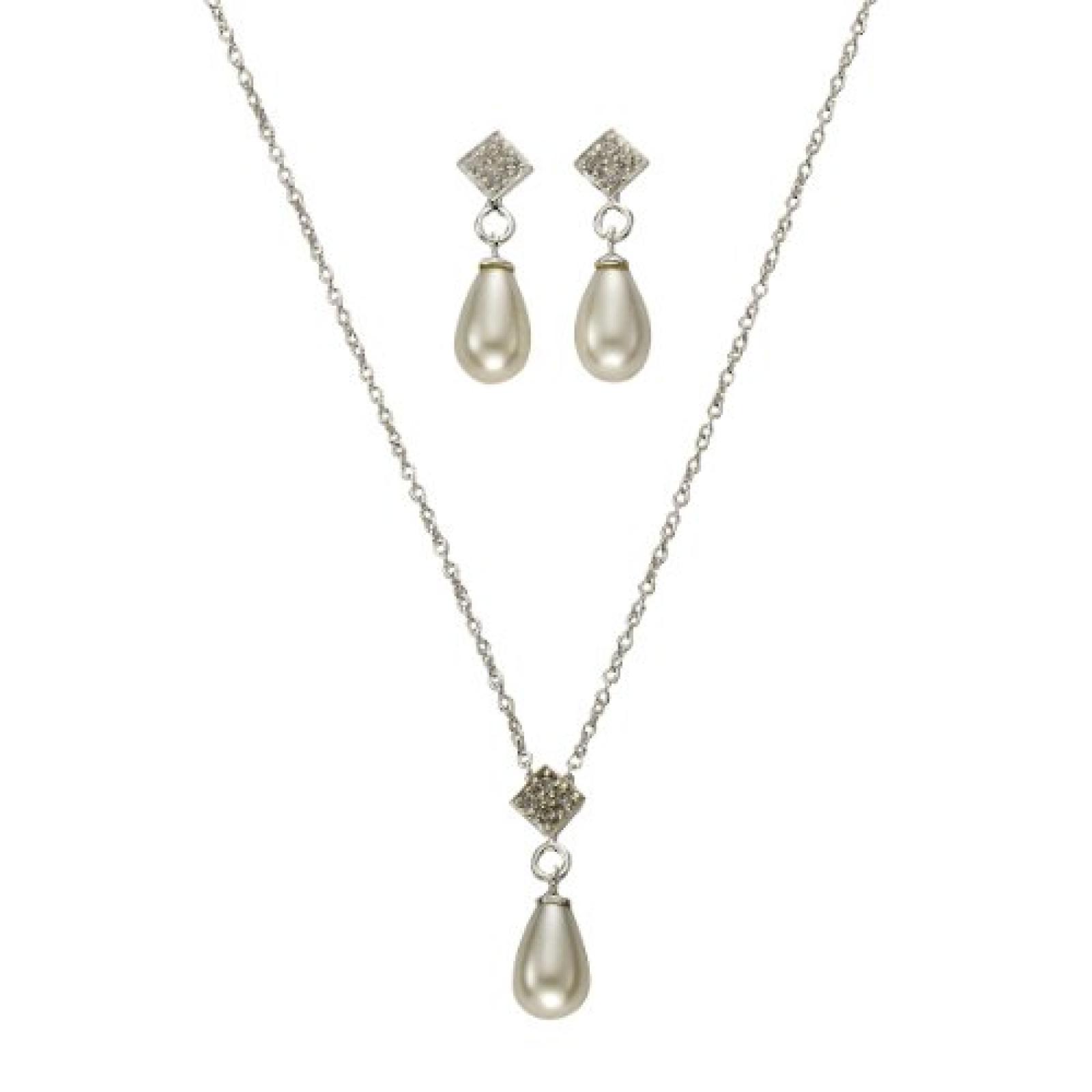 ZEEme Damen-Set: Halskette + Ohrringe Silber weiß 2-teilig Süßwasserzuchtperle Zirkonia 301200076-1