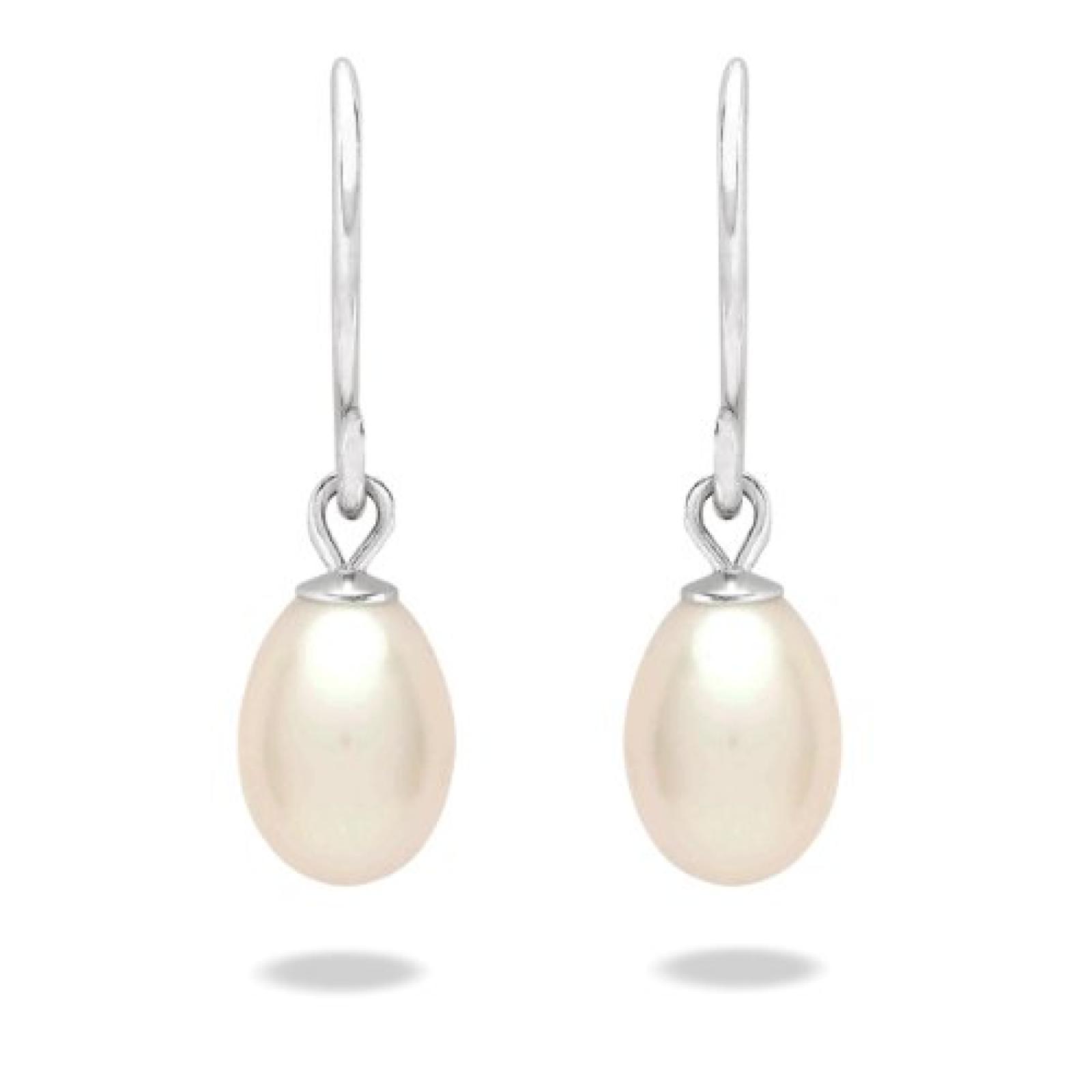 Valero Pearls Classic Collection Damen-Ohrhänger Hochwertige Süßwasser-Zuchtperlen in ca.  9 mm Tropfenform weiß 925 Sterling Silber       60020067