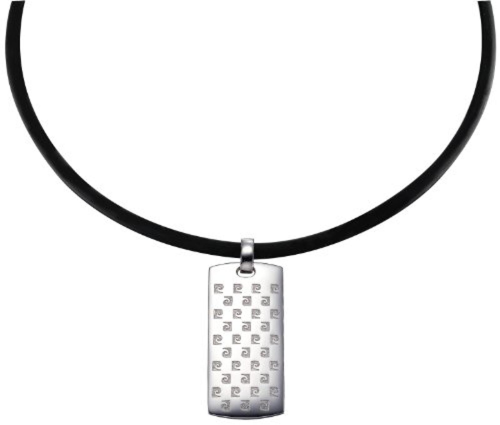 Pierre Cardin Unisex Halskette 925 Sterling Silber rhodiniert Leder Influence 50 cm PCNL90397A500