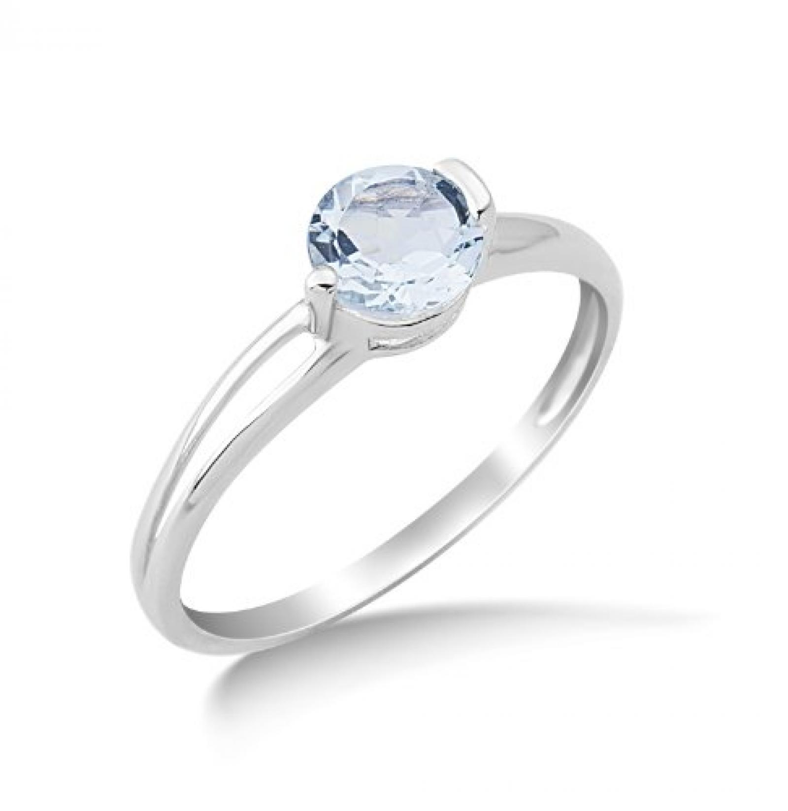Miore Damen-Ring mit Aquamarin 9 Karat 375 Weißgold Gr. 52 (16.6) MG9087R2