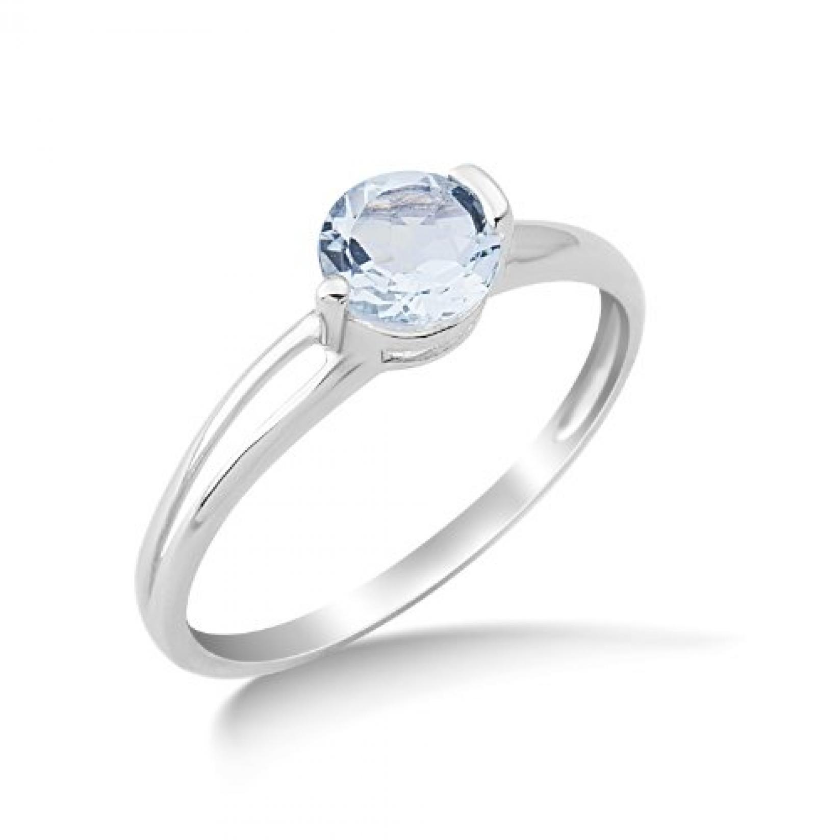 Miore Damen-Ring mit Aquamarin 9 Karat 375 Weißgold Gr. 54 (17.2) MG9087R4