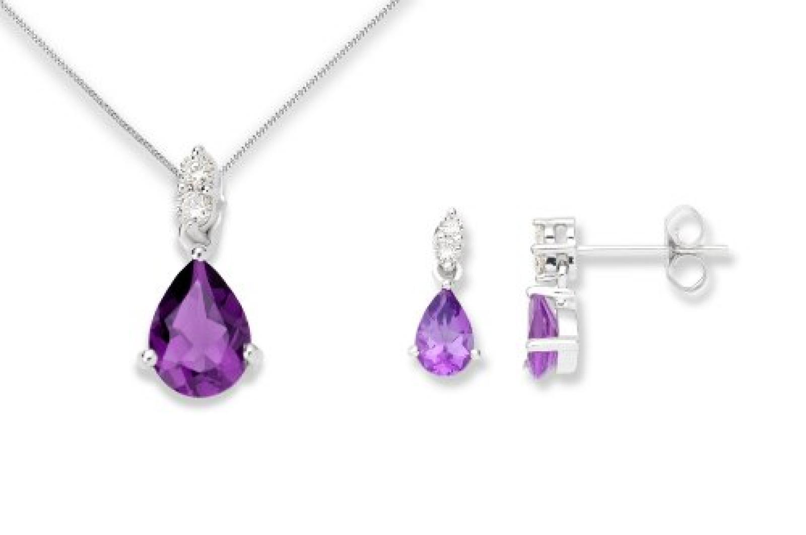 Miore Damen-Set: Halskette + Ohrringe Tropfen Amethyst und Diamant 9 Karat 375 Weißgold MSET001