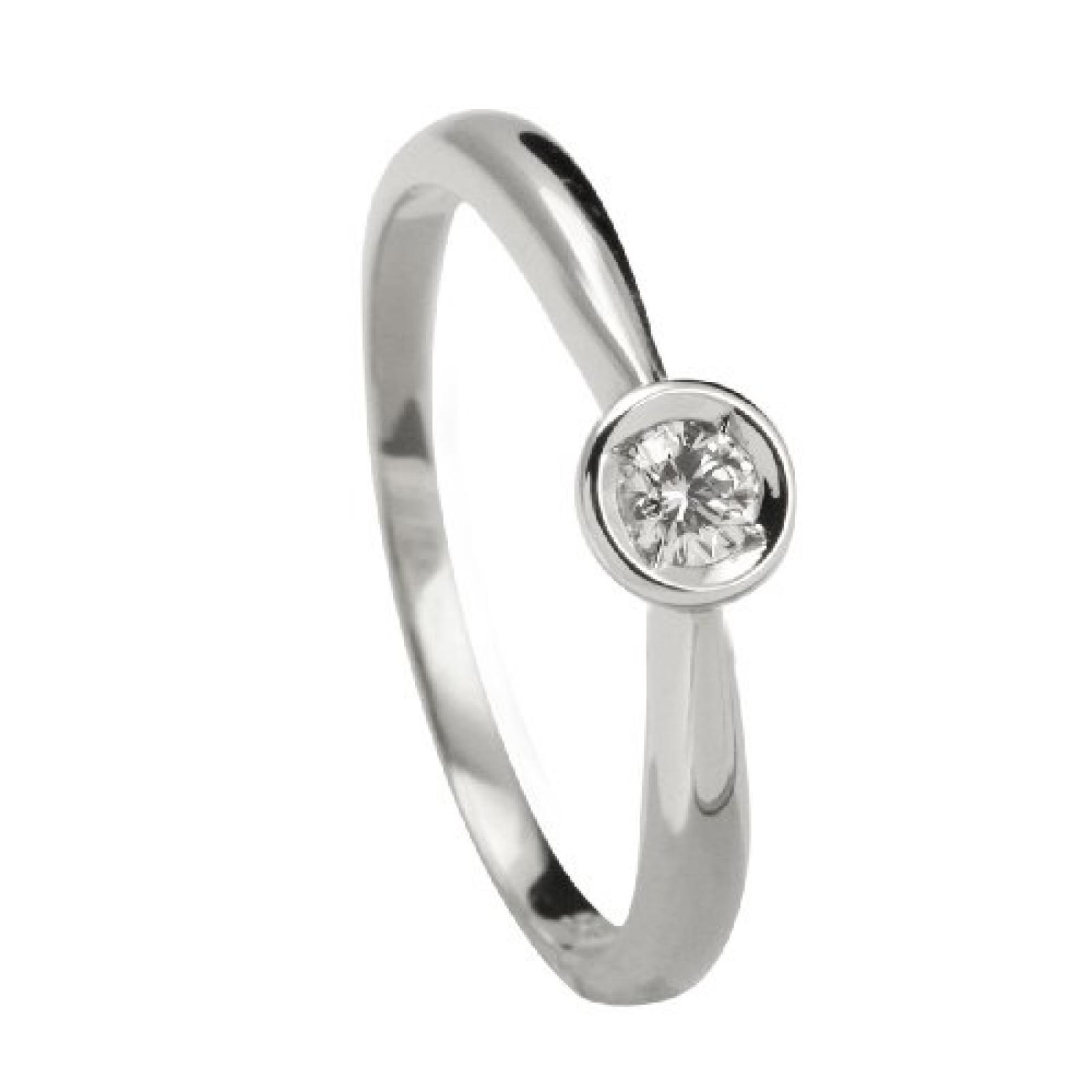 Bella Donna Damen Diamantring 585/000 Weiß-Gold 1 Brillant 0,05ct. Weiß Piqué