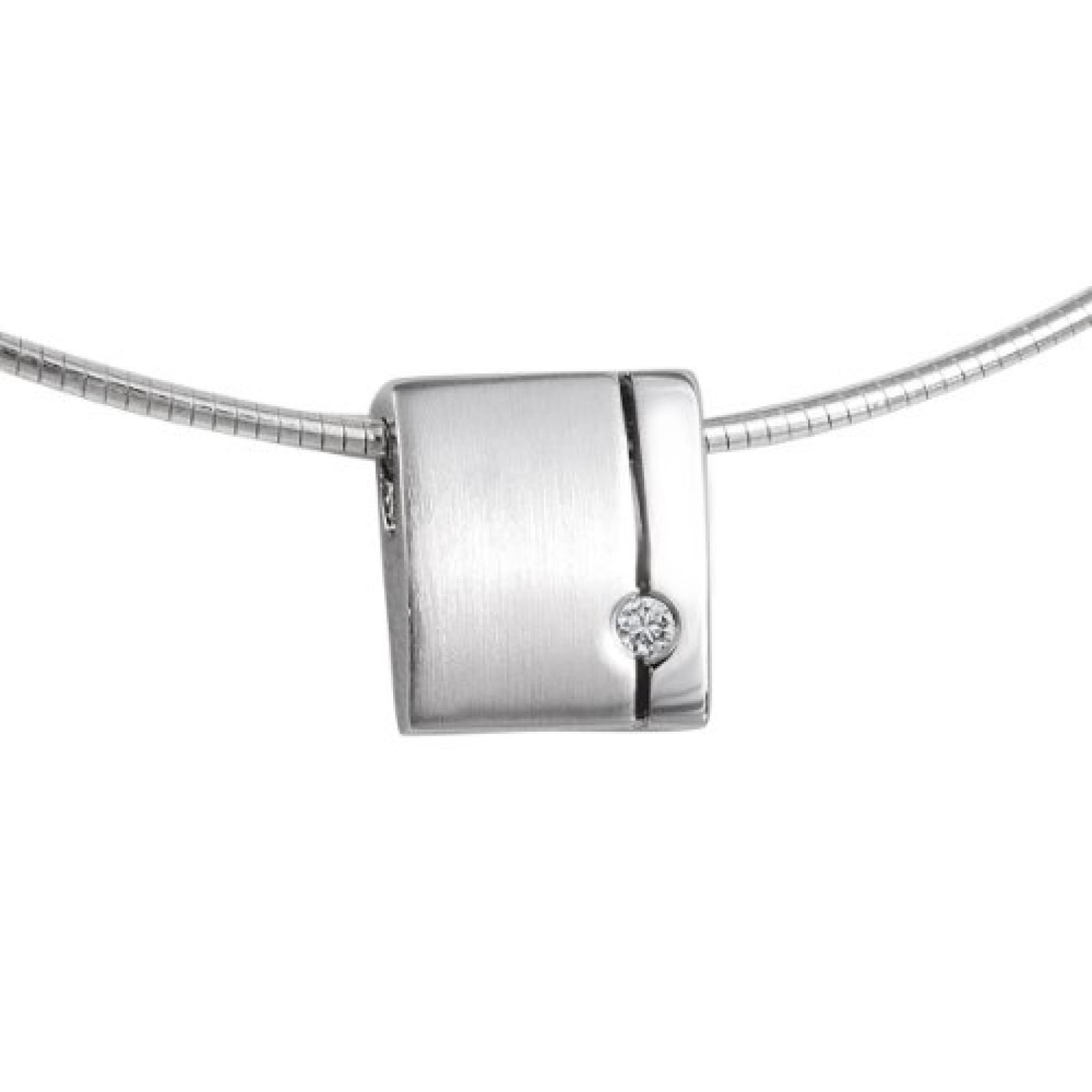 Bella Donna Damen-Halsketten mit Anhänger 925 Sterling Silber 1 Zirkonia weiss 43cm 109486