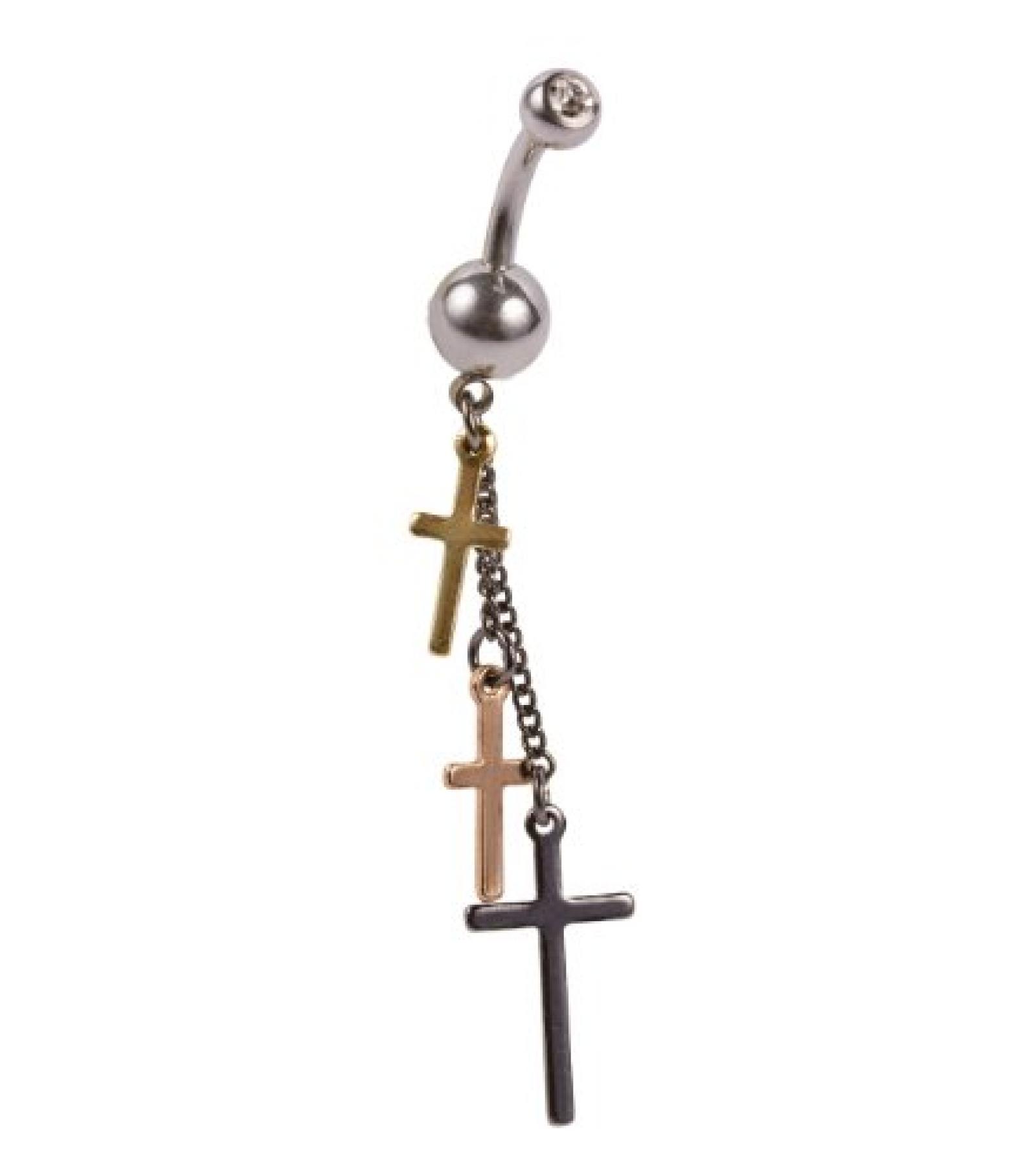 SIX silbernes Bauchnabel-Piercing mit drei gold grauen Kreuzen an Ketten (269-262)