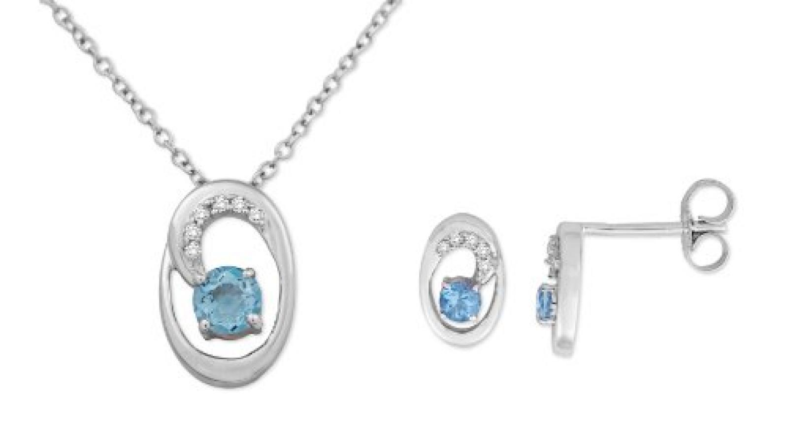 MIORE Damen-SchmuckSet Ohrringe und Anhänger 9 Karat (375) Weißgold Blau Topas und Diamant- USP029W