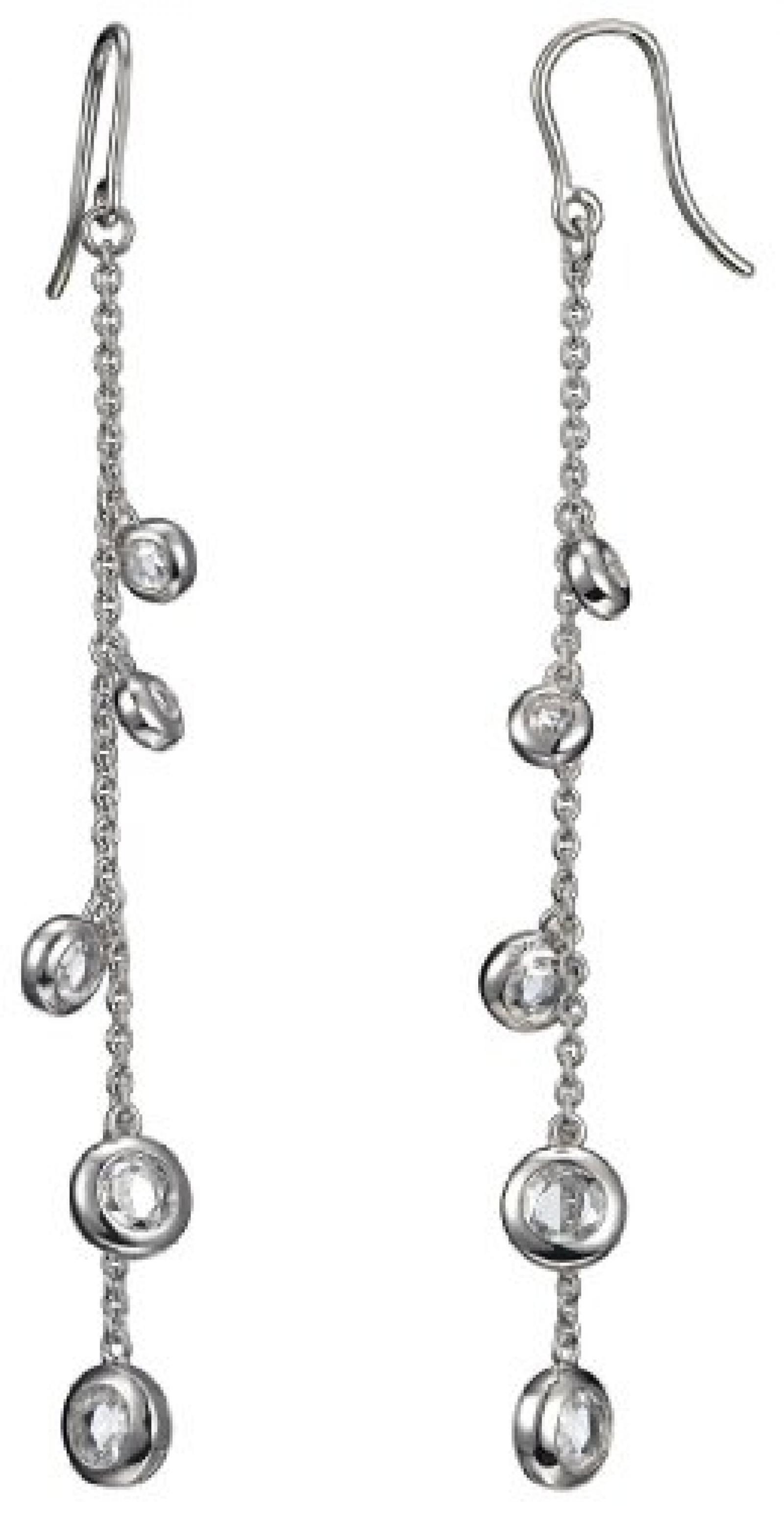 Pierre Cardin Damen-Ohrhänger 925 Sterling Silber rhodiniert Kristall Zirkonia Poussières détoiles weiß PCER90212A000
