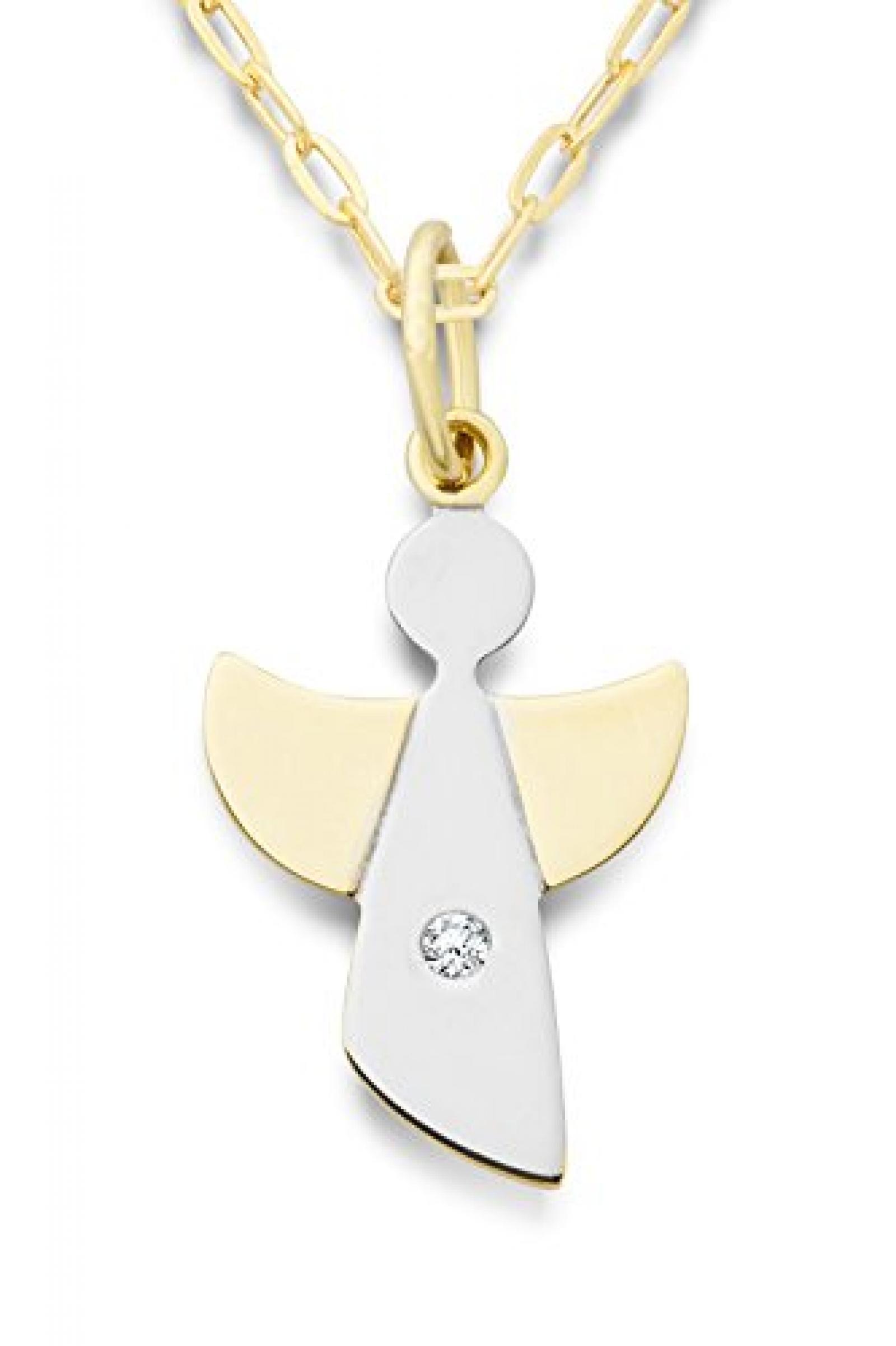 Miore Damen-Halskette mit Anhänger Schutzengel Brillant 9 Karat 375 Gelbgold 45cm MA9044N