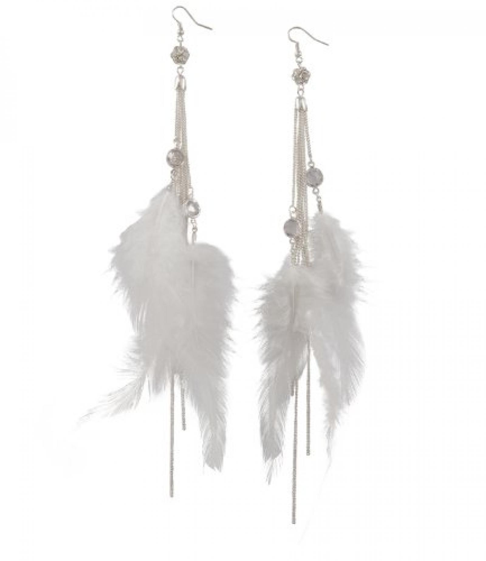 """SIX """"Bride"""" silberne Ohrhänger mit Ketten und weißen Federn (353-832)"""