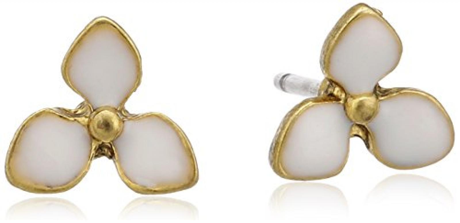 Pilgrim Jewelry Damen-Ohrstecker aus der Serie Classic vergoldet weiss 0.8 cm 611312073