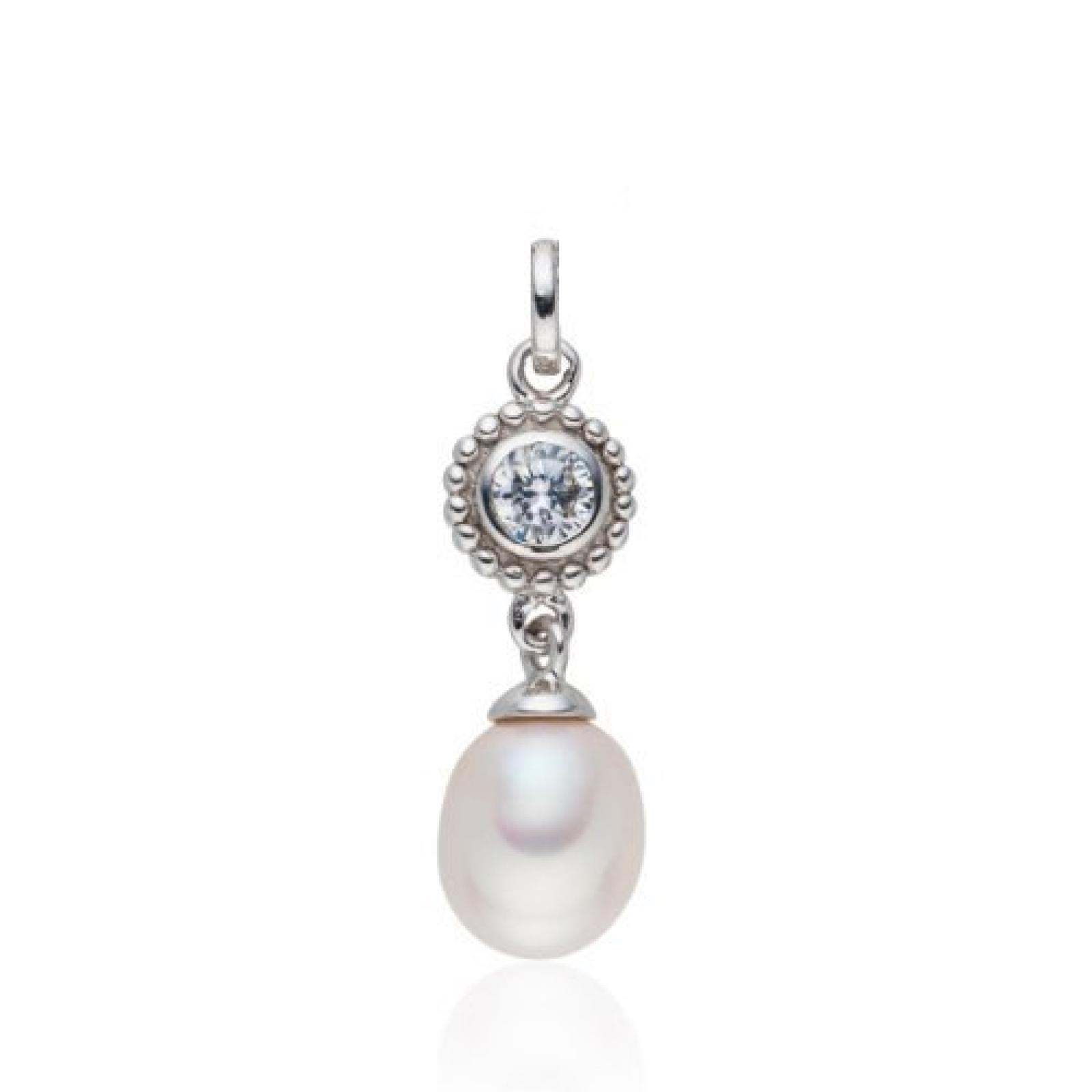 Valero Pearls Silver Collection Damen-Anhänger (ohne Kette) Hochwertige Süßwasser-Zuchtperlen in ca.  8-9 mmOval weiß 925 Sterling Silber   Zirkonia weiß    60840029