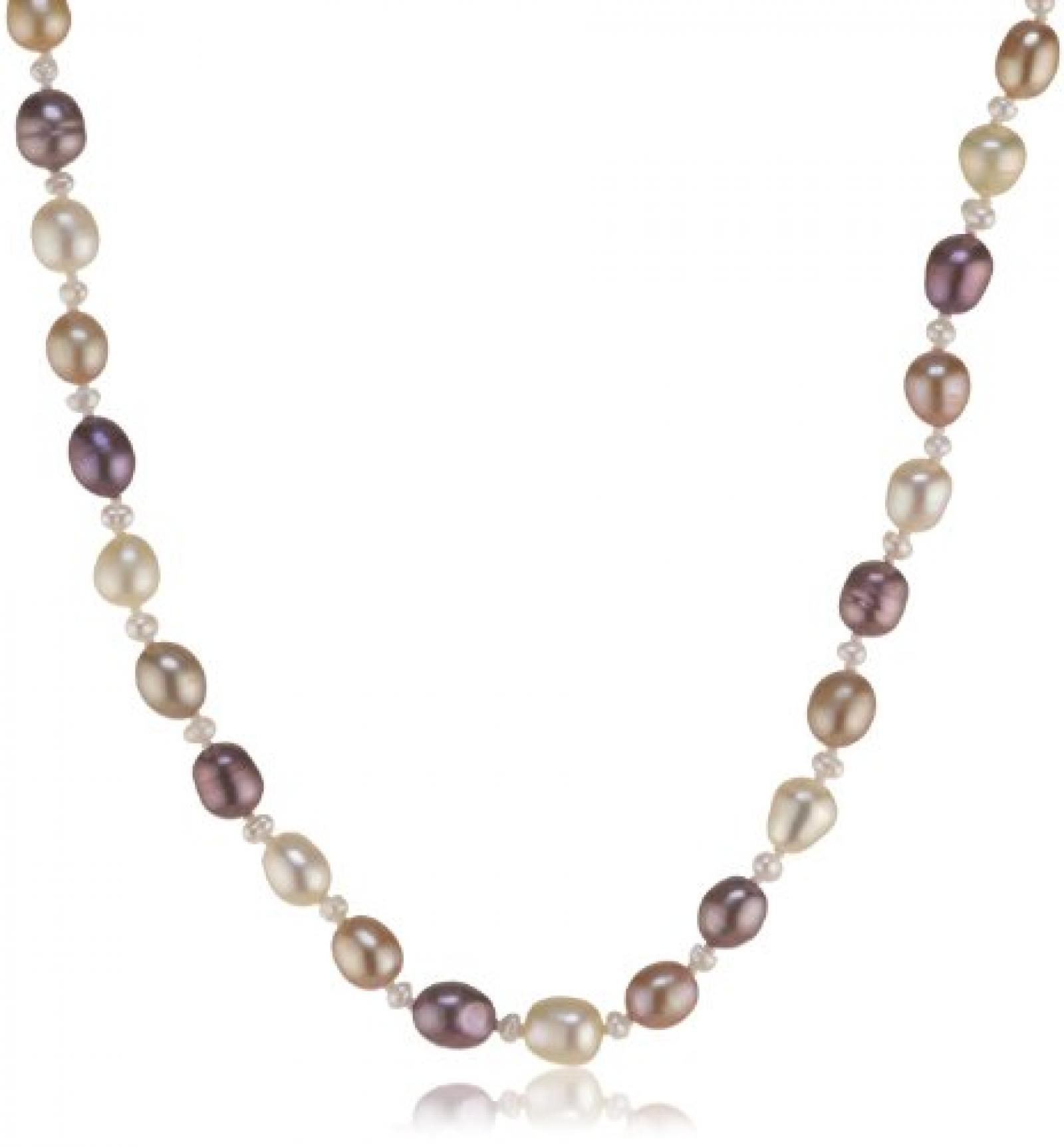 Valero Pearls Fashion Collection Damen-Kette Hochwertige Süßwasser-Zuchtperlen in ca.  4-6 mm Oval weiß / champagner / chocolate 925 Sterling Silber    43 cm   474530