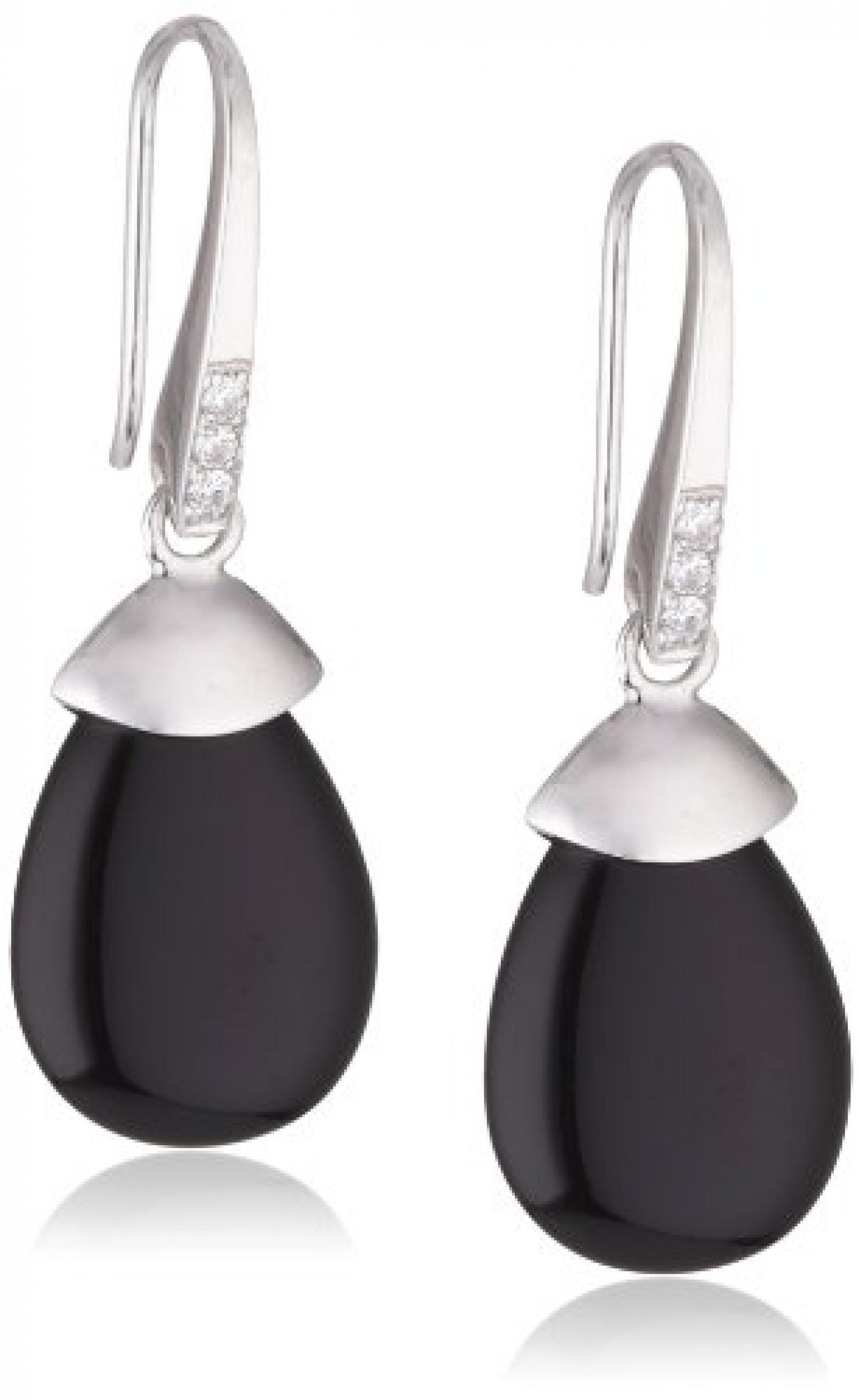 Viventy Damen-Ohrhänger 925 Sterling Silber mit 1 Zirkonia in weiss und 1 Onyx in schwarz 763774