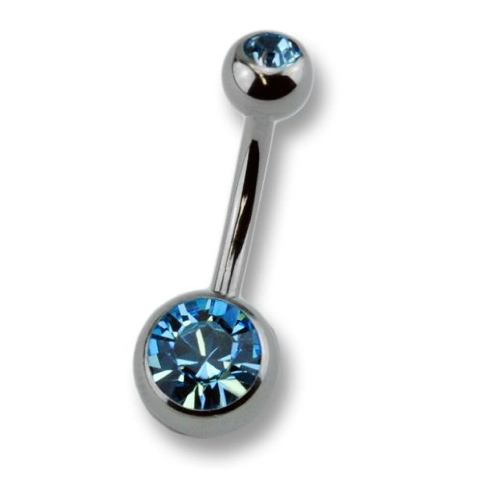 Zeeme Unisex-Piercing 10mm Und Zwei Dunkelblauen Kristallen 159000077-10mm