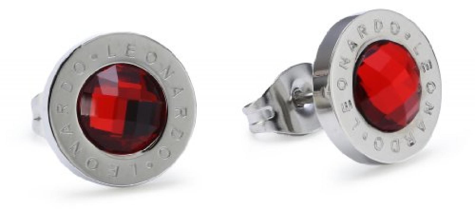Leonardo Jewels Classic Damenohrstecker Edelstahl + Glas rot