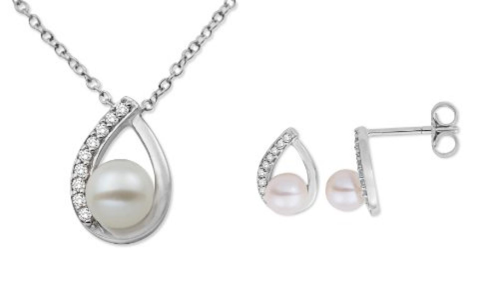 Miore Damen-Schmuckset Halskette + Ohrringe 375 Weißgold 3 Süßwasser-Zuchtperlen weiß 27 Diamanten farblos USP031W
