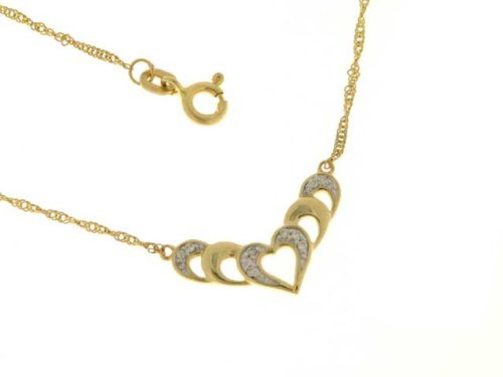 Kettenworld Damen-Halskette mit Anhänger 8 Karat 333 Gelbgold Brillant 0,05 ct. 312958