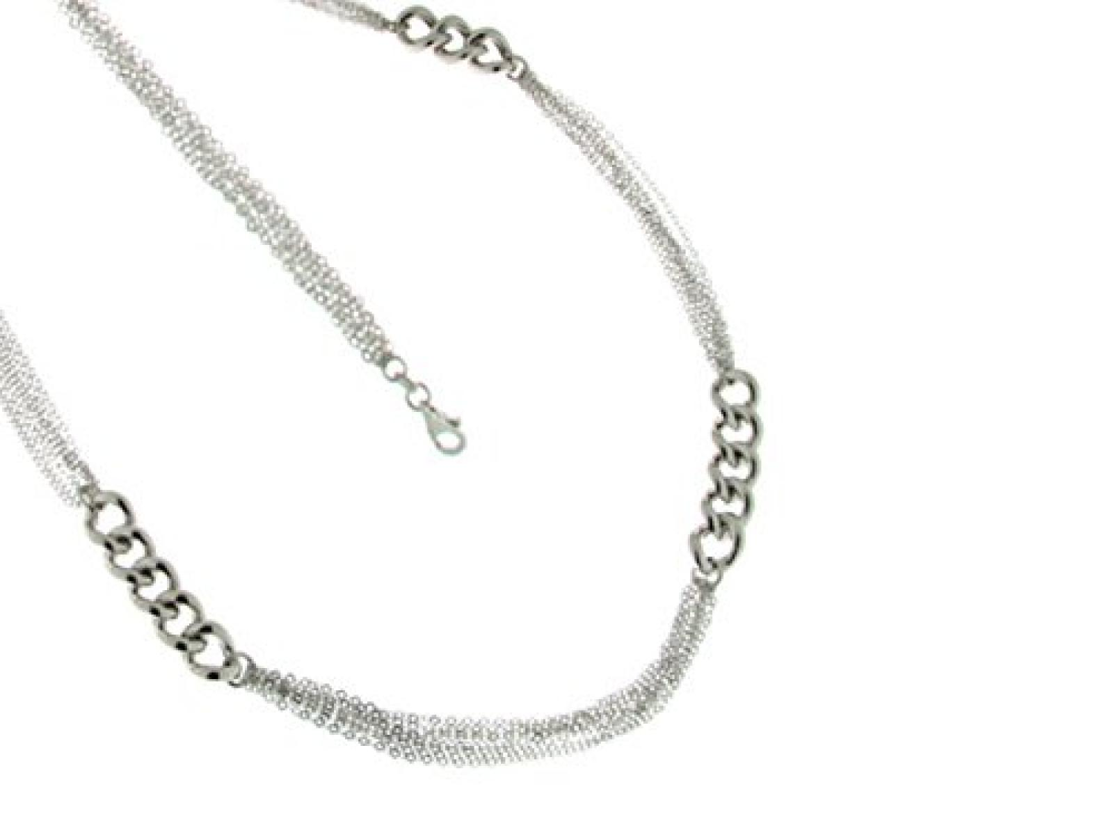 Kettenworld Damen-Halskette ohne Anhänger 925 Sterling Silber rhodiniert 316667
