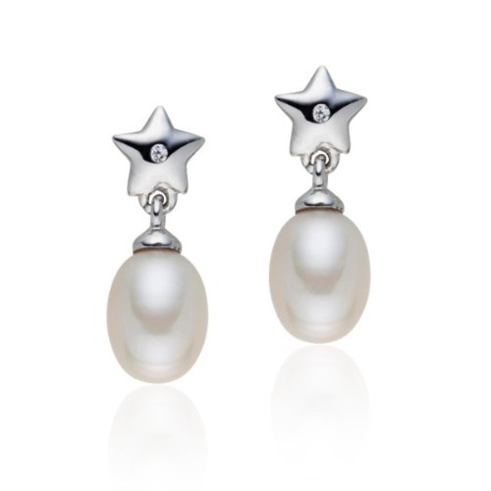 Valero Pearls Silver Collection Damen-Ohrstecker Hochwertige Süßwasser-Zuchtperlen in ca.  6-7 mmTropfenform weiß 925 Sterling Silber   Diamant    60840040