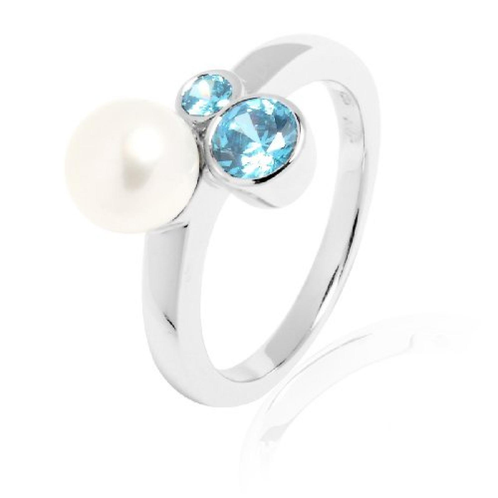 Valero Pearls Damen-Ring Silver Collection 925 Sterling Silber Süßwasser-Zuchtperlen aqua 60200015