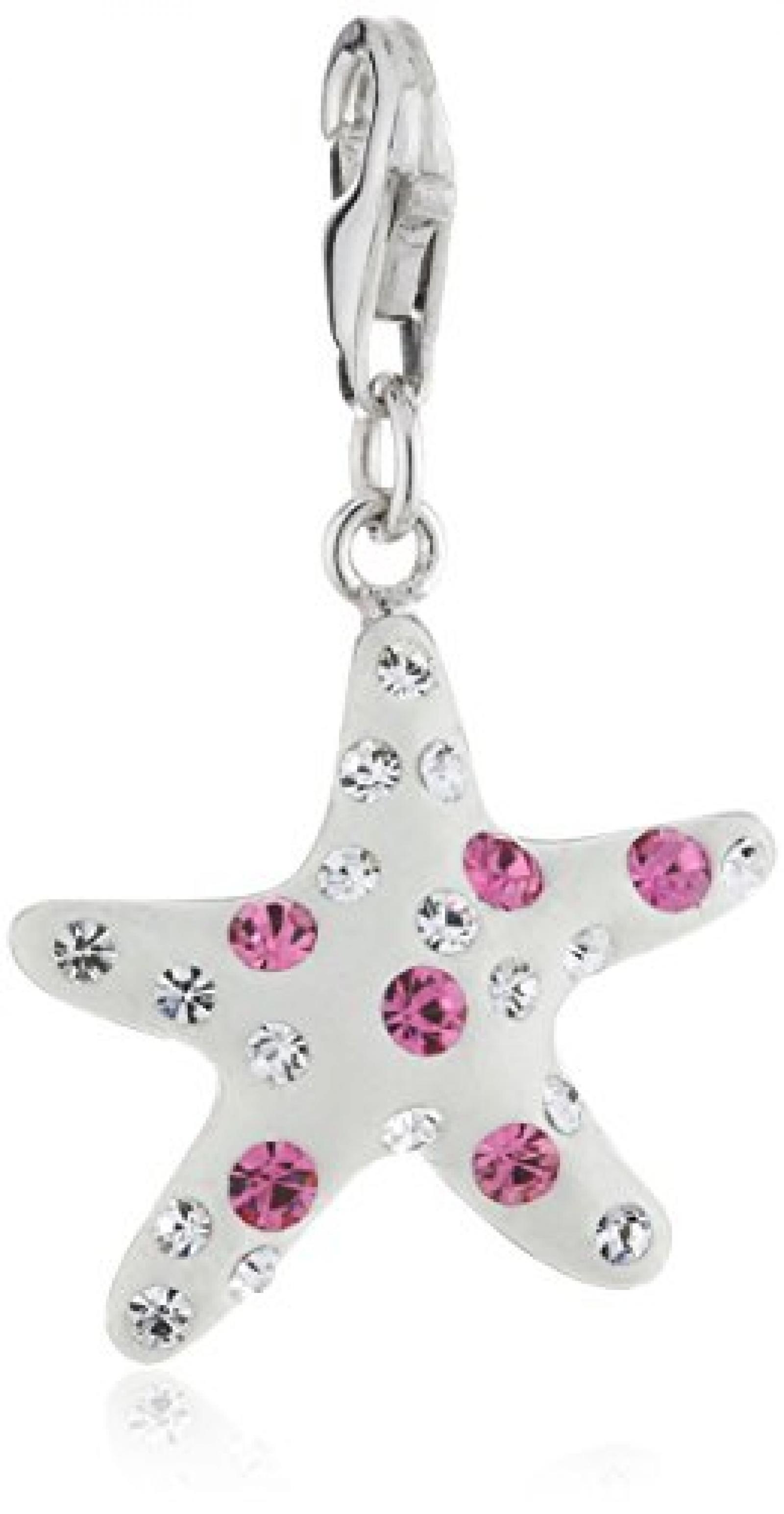 Zeeme Damen-Anhänger 925/- Sterling Silber Stern Kristall Rosa/Weiß 280240056