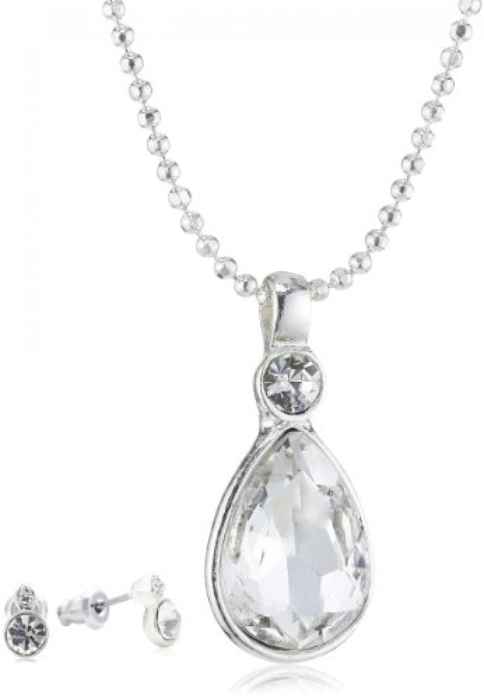 Pilgrim Jewelry Damen-Schmuckset: Halskette + Ohrstecker versilbert Kristall weiß 901346009