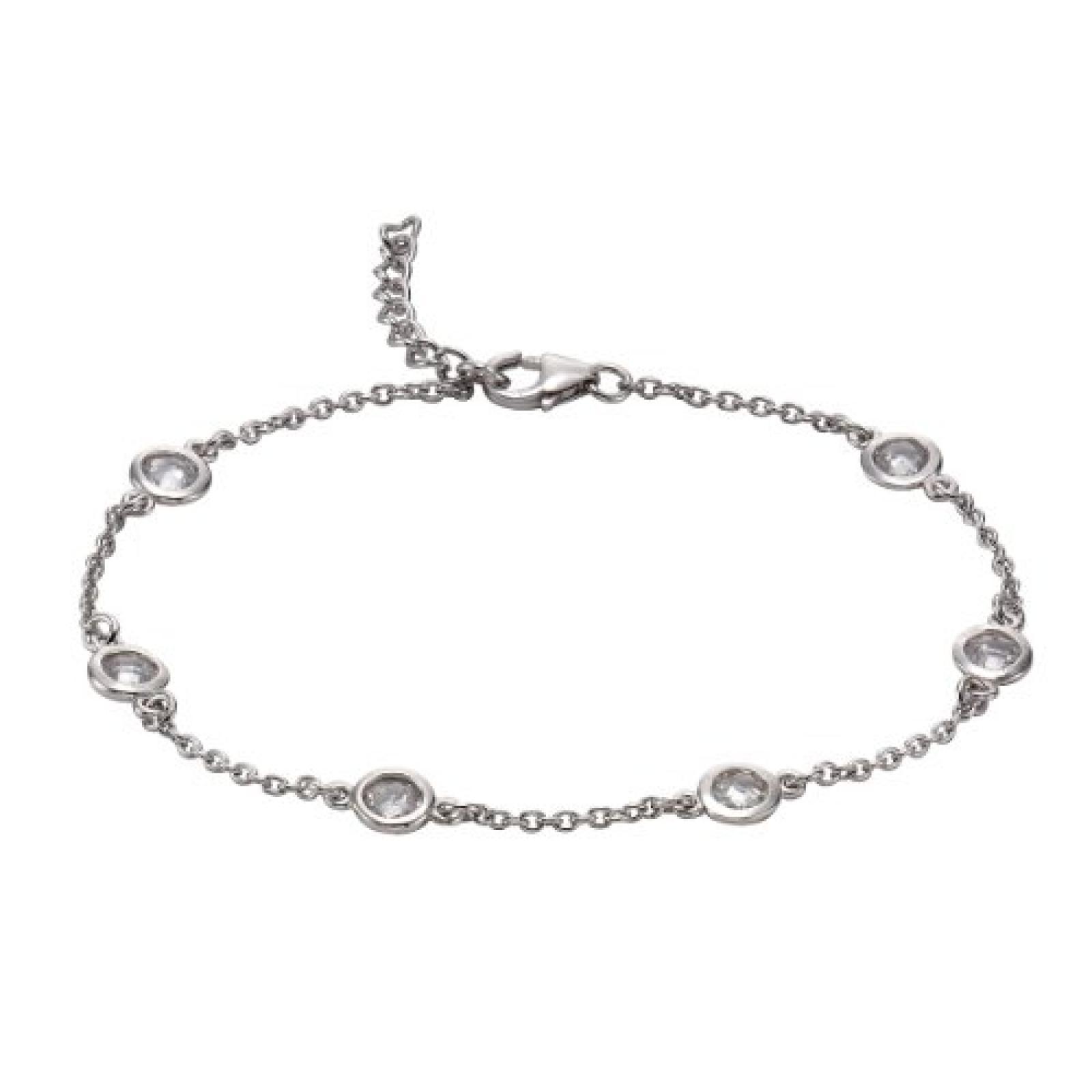 Celesta Damen-Fußkettchen 925 Sterling Silber Zirkonia Celesta 29 cm weiß 358200008