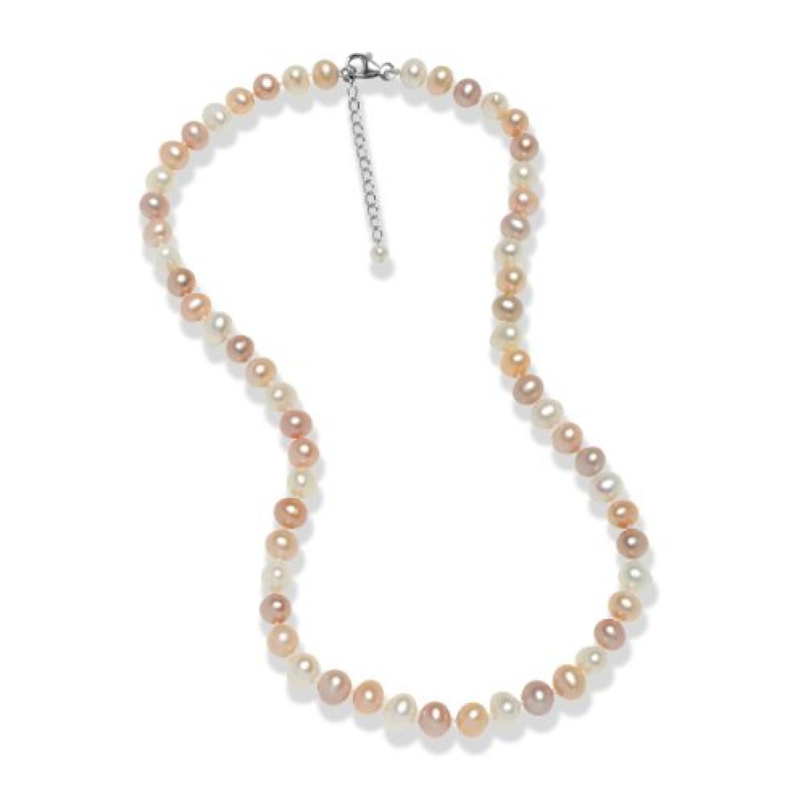 Valero Pearls Classic Collection Damen-Kette Hochwertige Süßwasser-Zuchtperlen in ca.  7 mm Oval weiß / apricot / flieder 925 Sterling Silber    45 cm + 5 cm Verlängerung   60201627