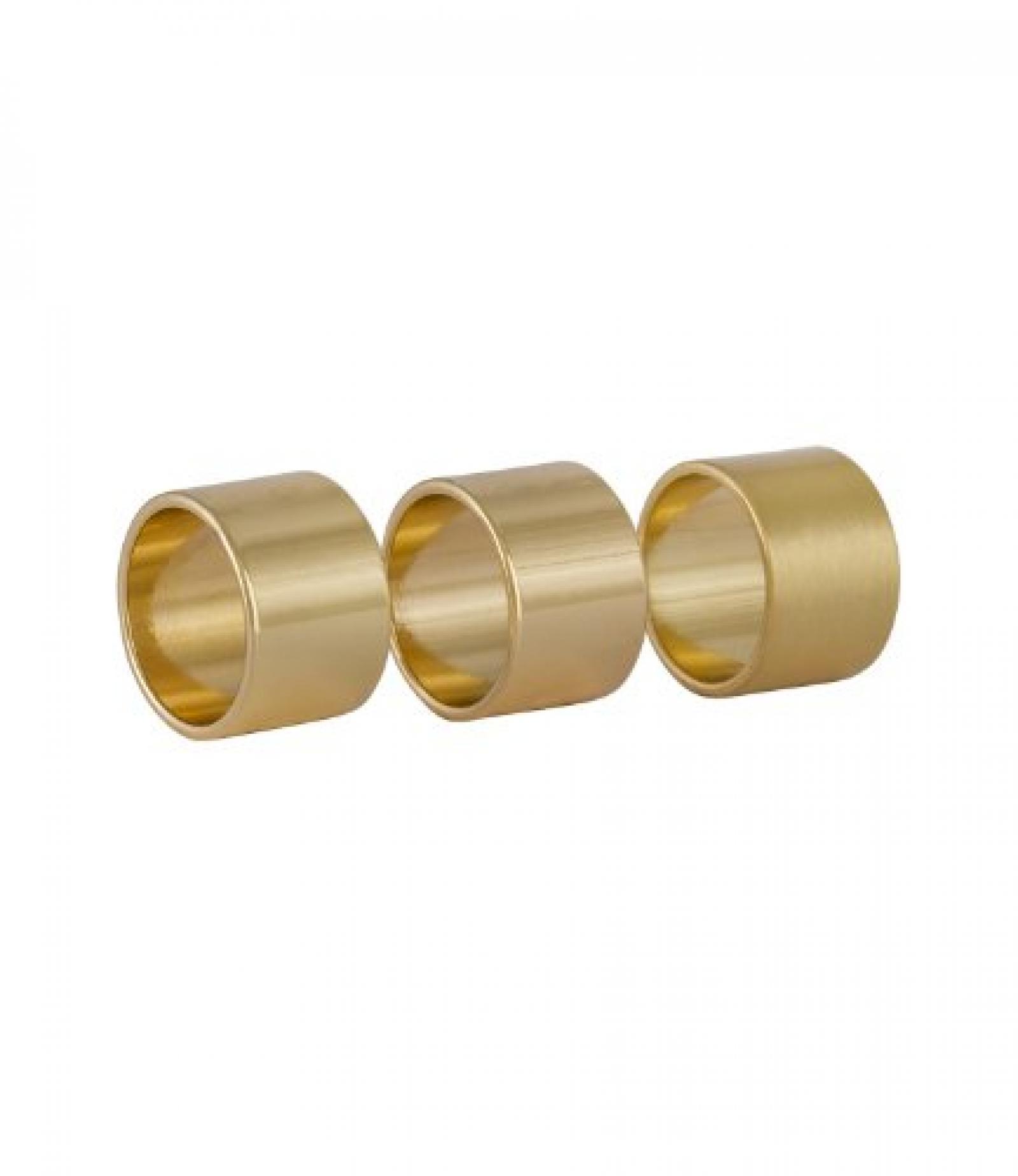 """SIX """"Lettering"""" 3er Set breite goldene Mini Fingerringe (383-044)"""