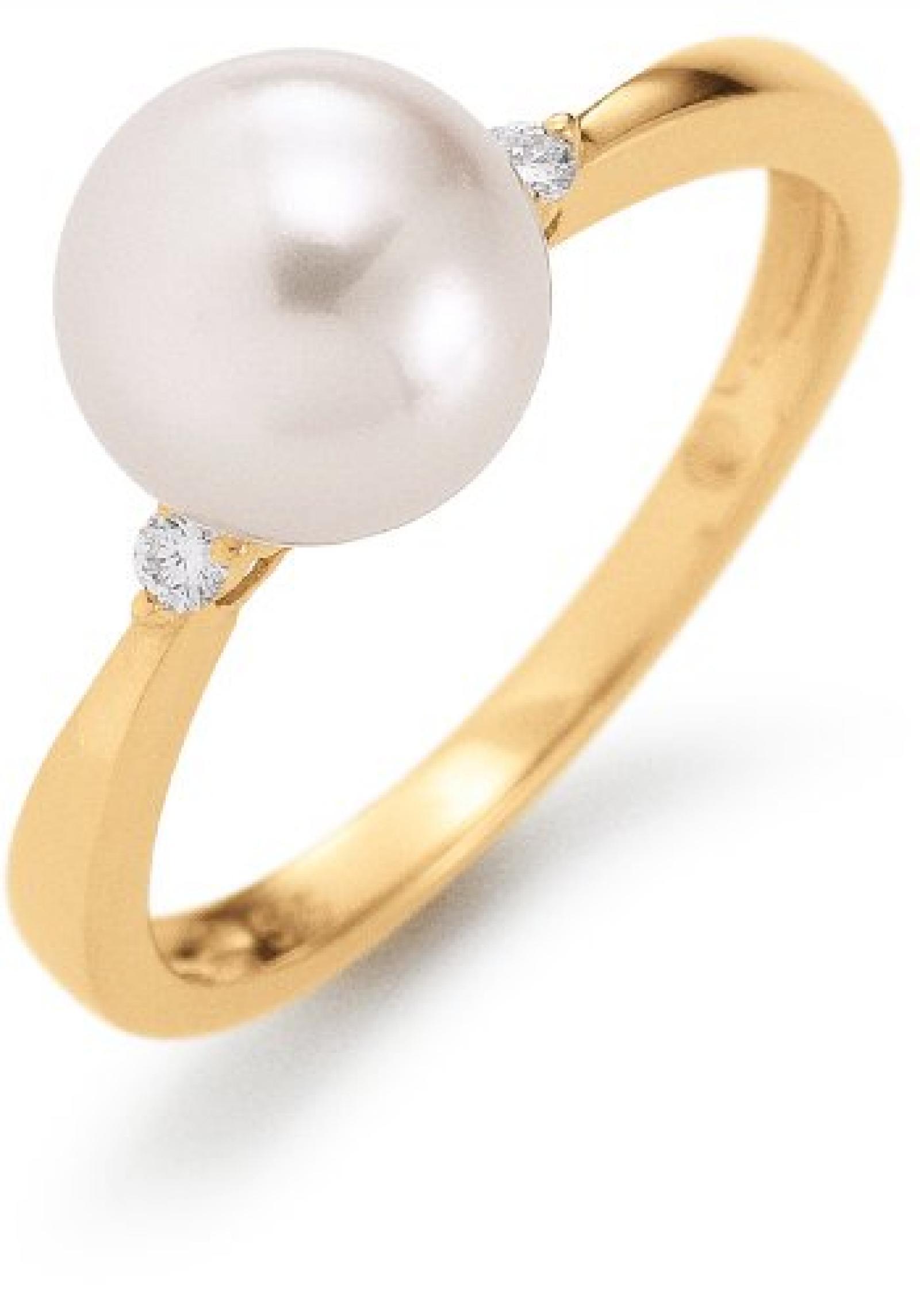 Adriana Damen-Ring Akoya Zuchtperlen mit Brillant 585 Gelbgold Eleganza E12