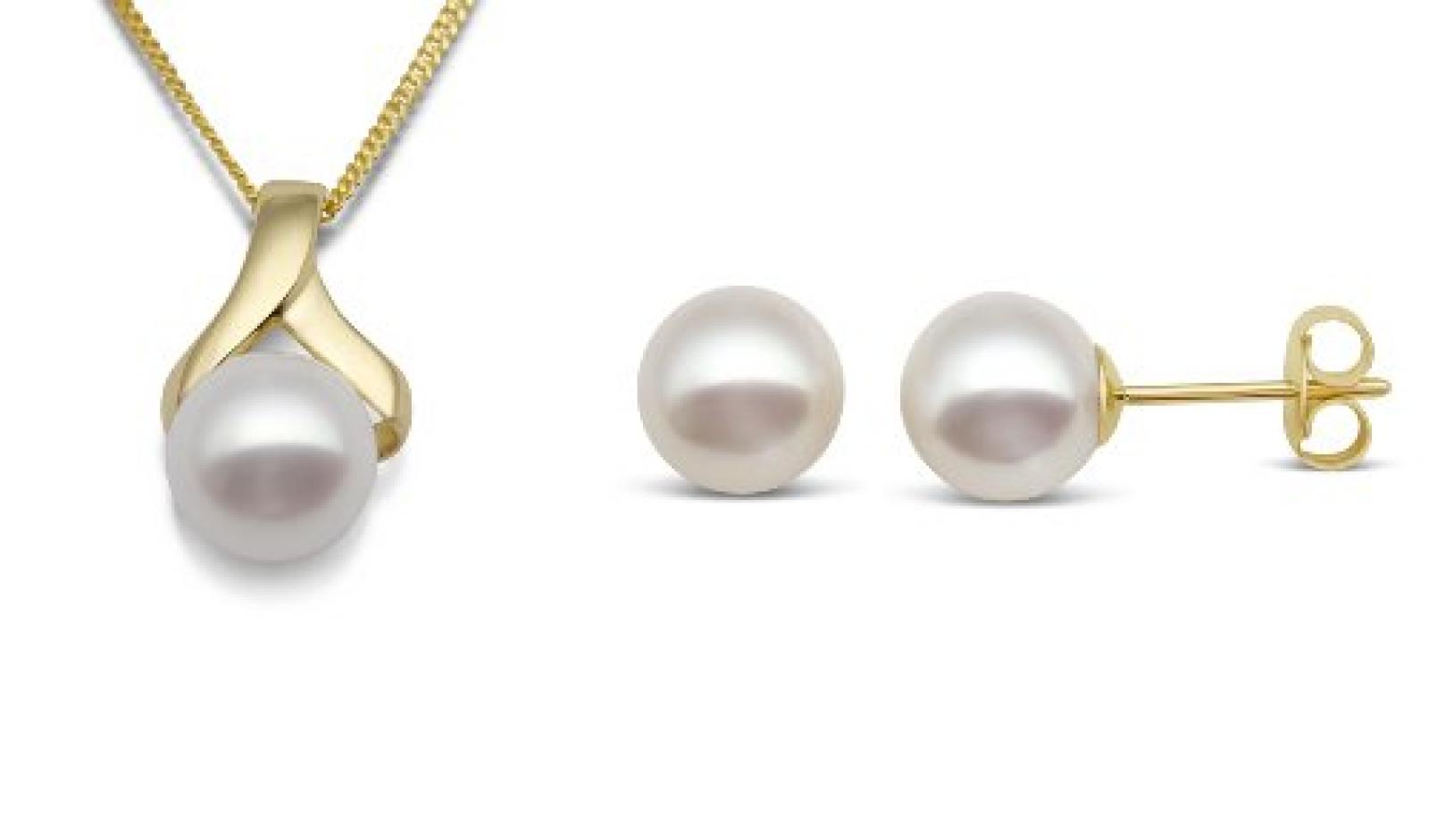 Miore Damen-Set: Halskette + Ohrringe Süßwasser-Zuchtperlen 9 Karat 375 Gelbgold MSET007