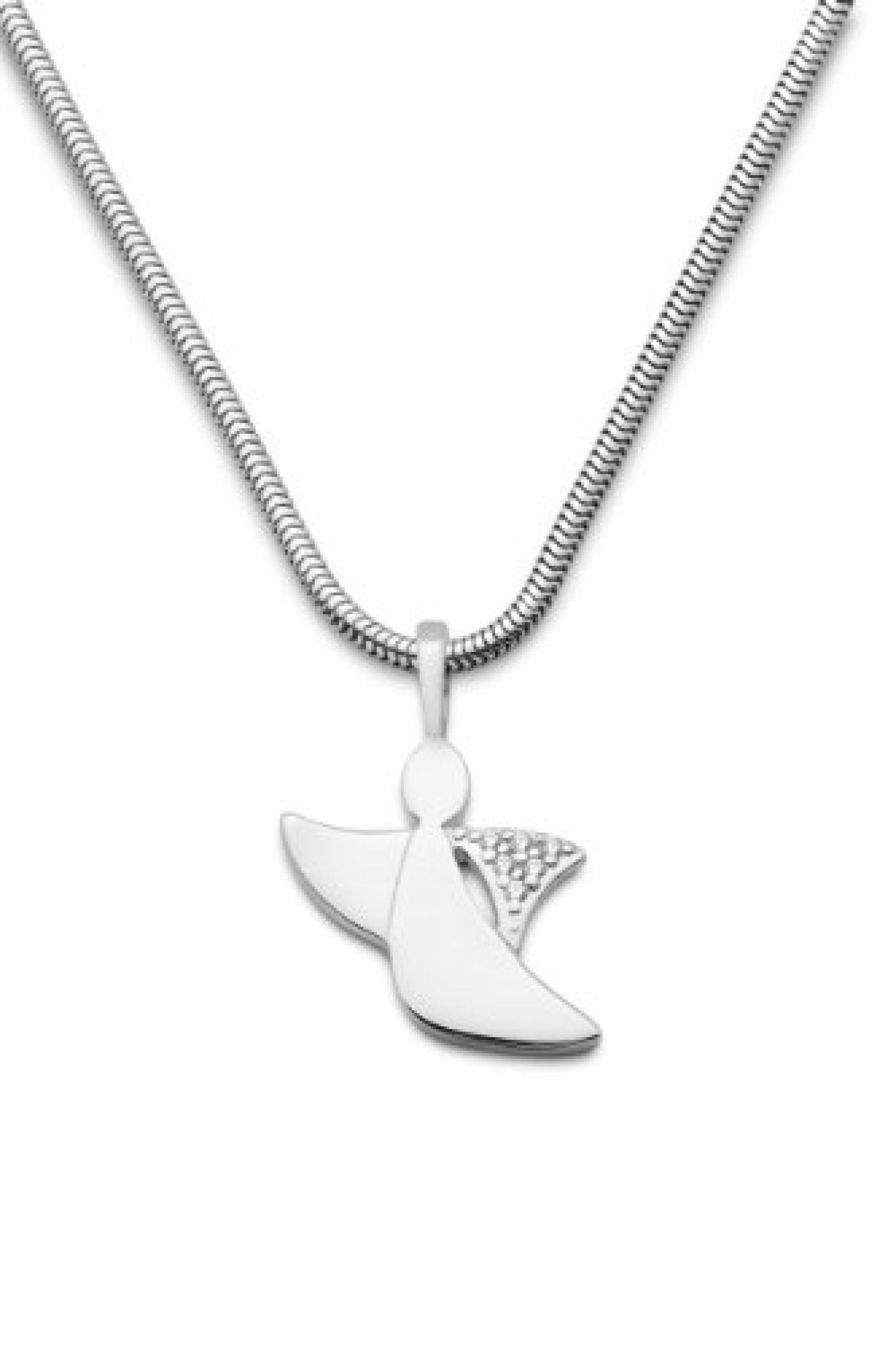 Miore Damen-Halskette Schutzengel 925 Sterling Silber 6 Zirkonia farblos 45 cm MSM148N