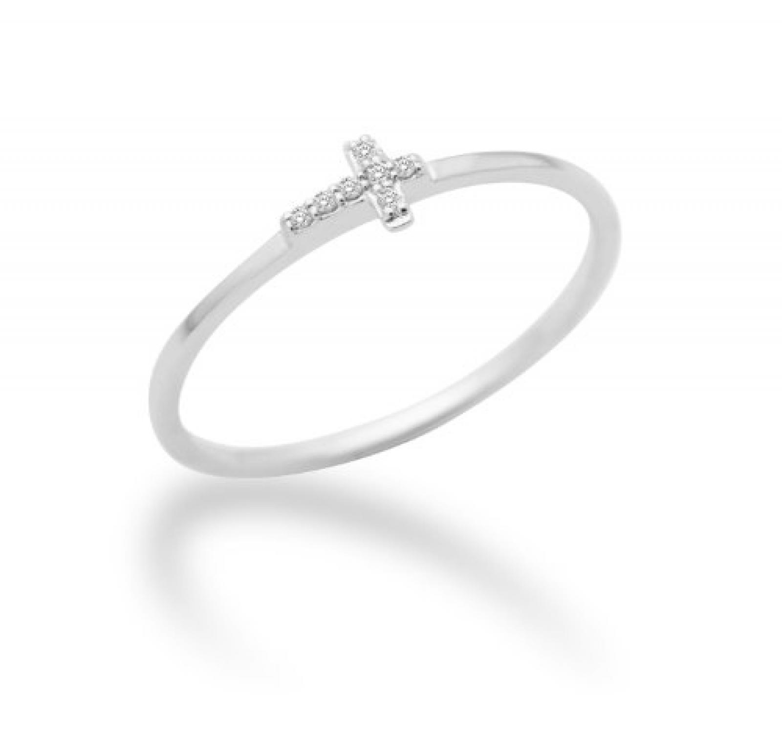 Miore Damen-Ring 18 Karat (750) weißgold Kreuz mit Brillanten 0.03ct MF8015RWM
